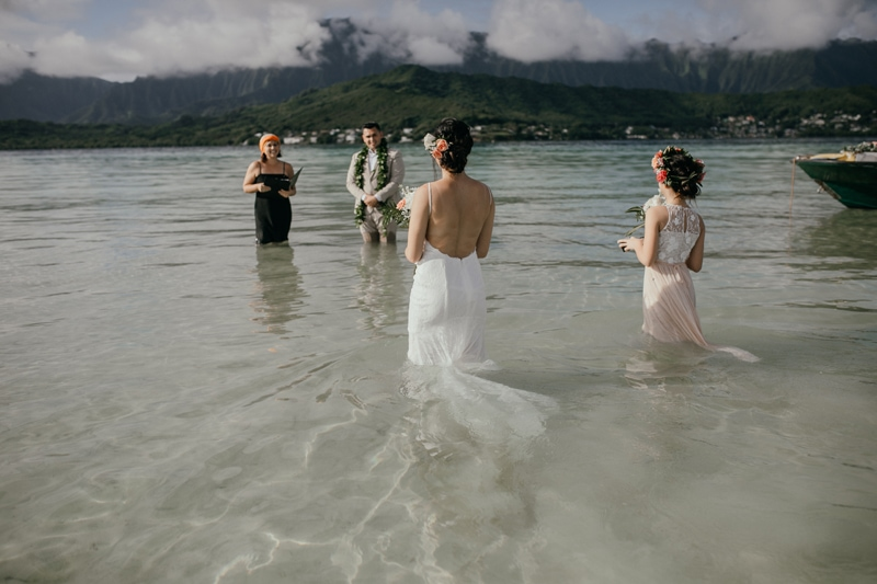 Oahu Wedding Photography, couple about to get married in the water
