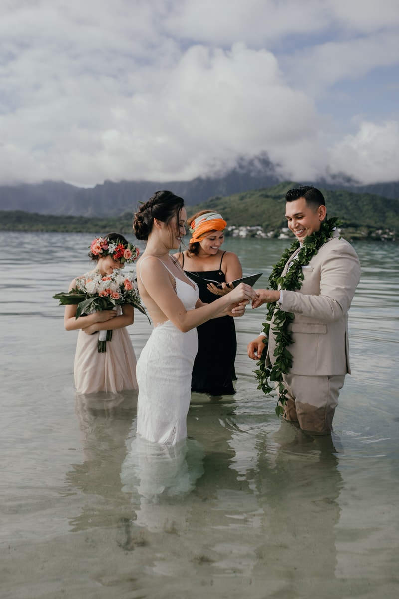 Oahu Wedding Photography, couple getting married in the ocean