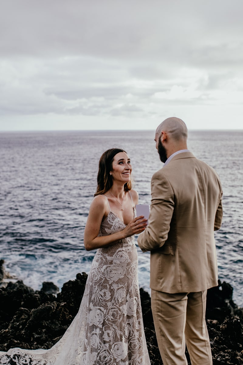 Oahu Wedding Photography, bride looking at her husband