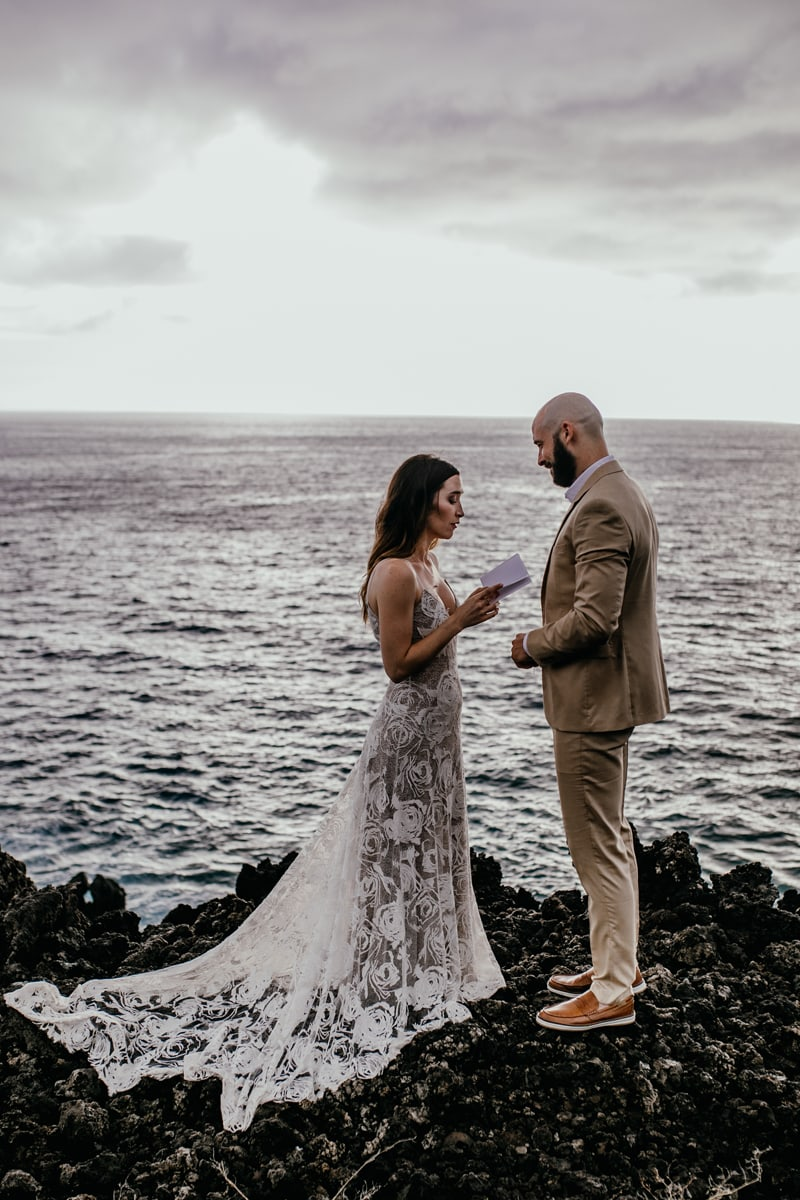 Oahu Wedding Photography, couple reading vows