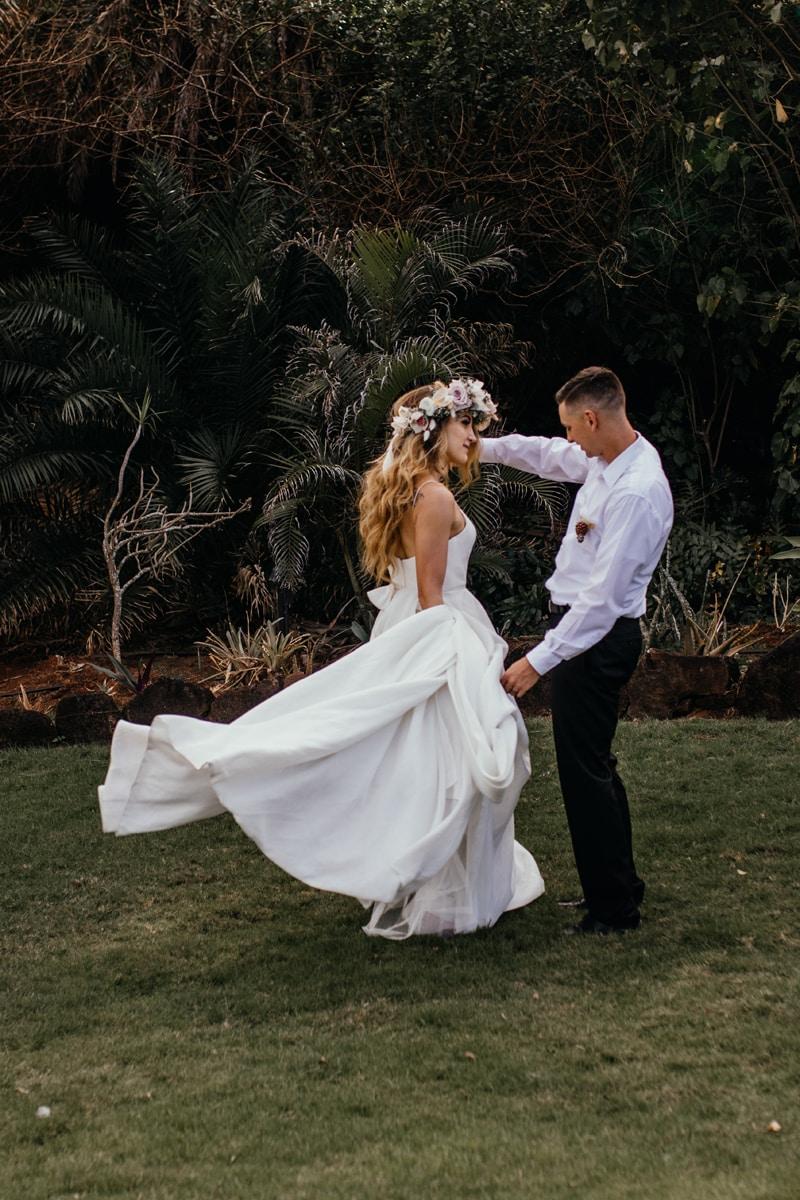 Oahu Wedding Photography, groom twirling his bride