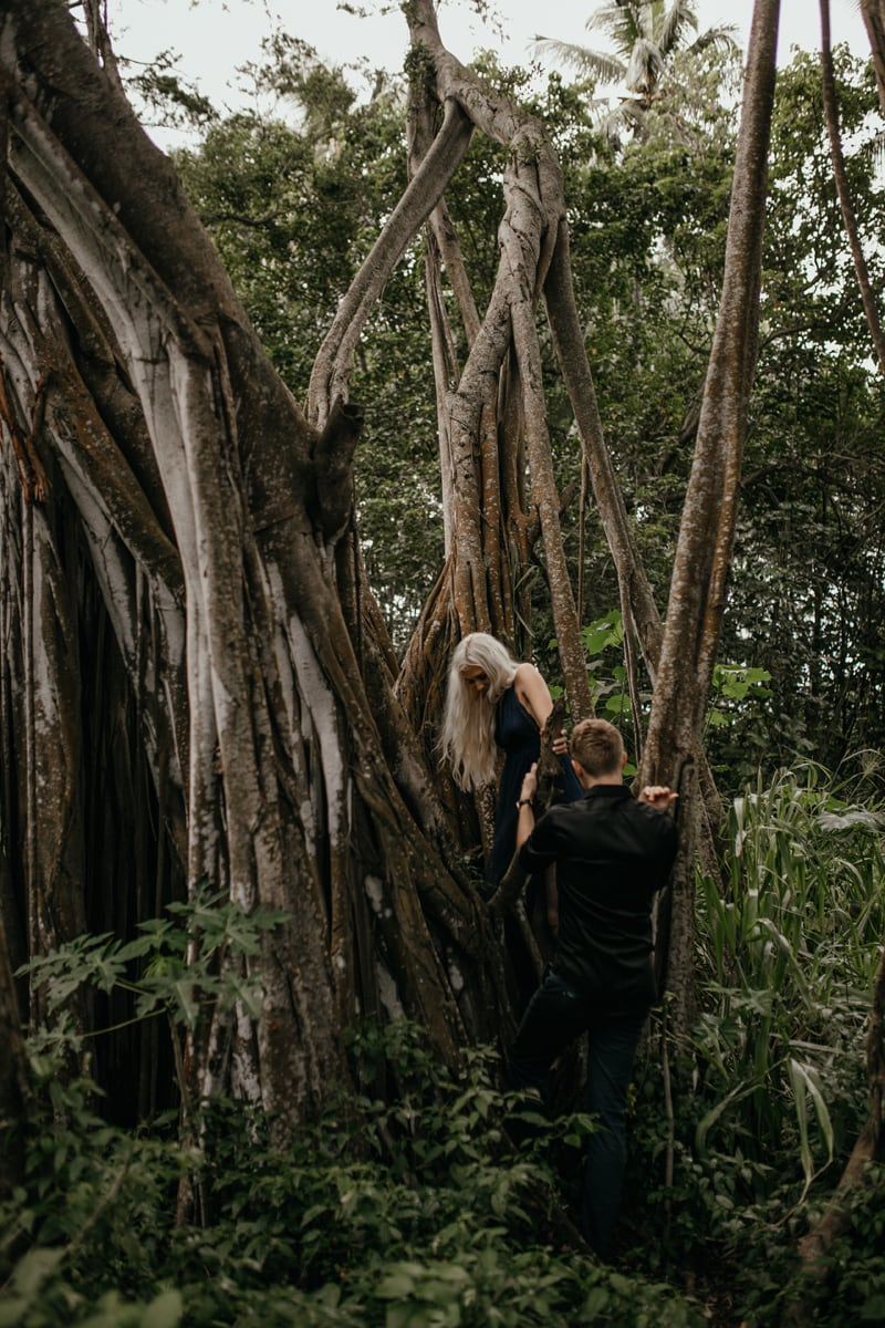 Oahu Couples Photography, couple climbing down from a tree