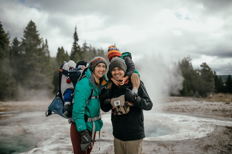 Travel Photography Adventures, family posing together in front of geyser