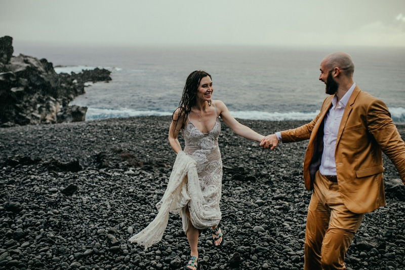 Oahu Wedding Photography, couple walking hand in hand on the beach