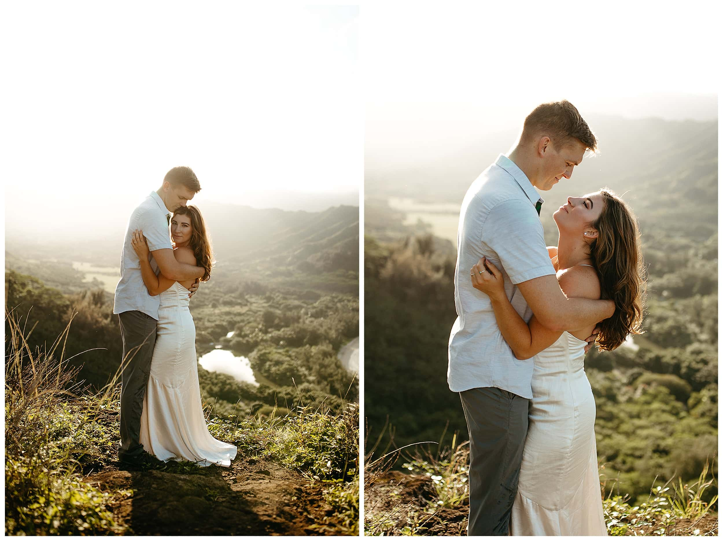 couple hugging on top of mountain