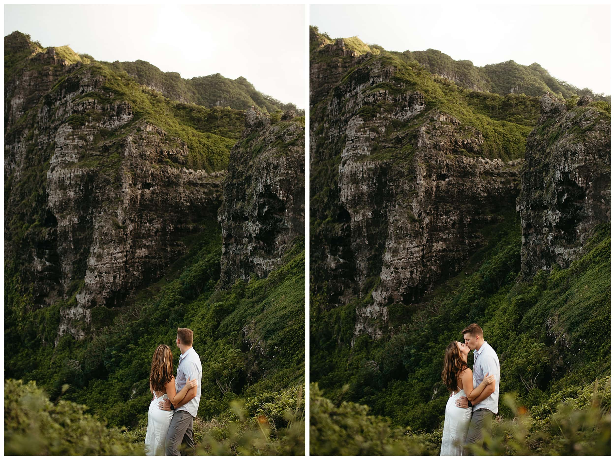 couple kissing in hawaii mountains