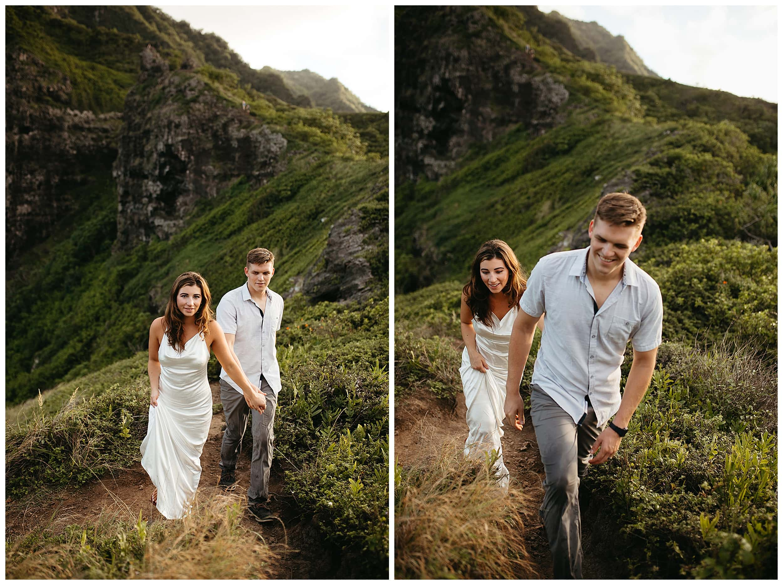 couple walking and smiling in oahu