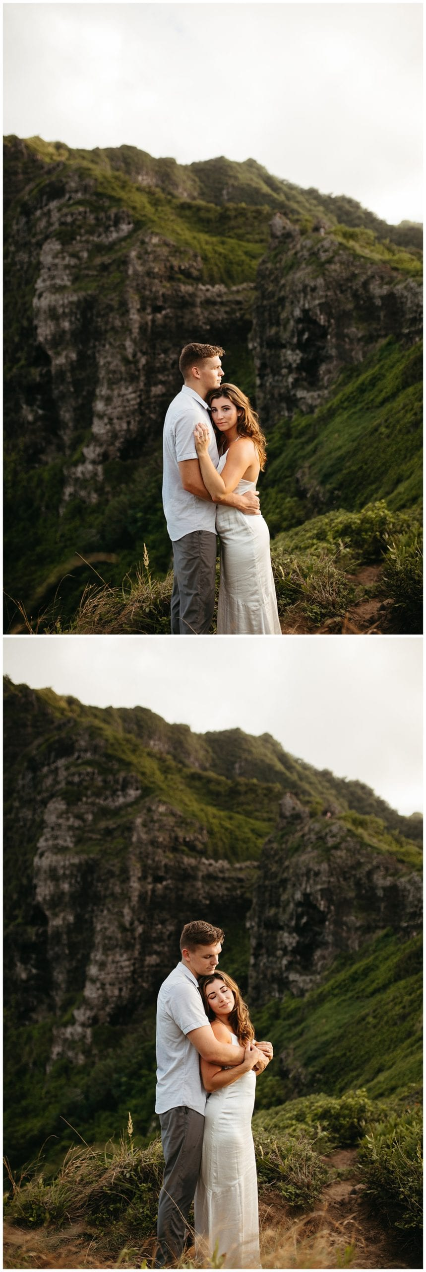couple hugging in mountains of oahu