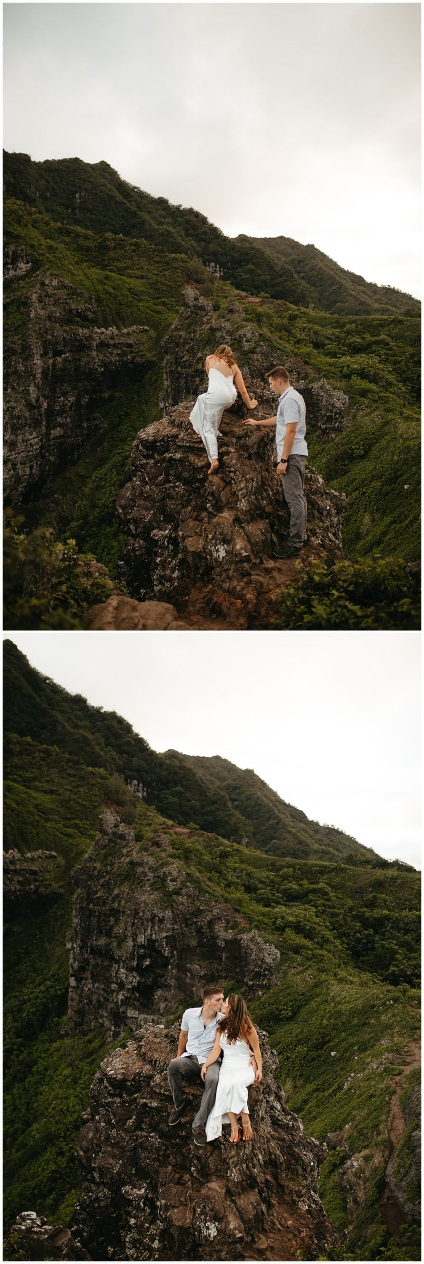 couple walking at crouching lion in oahu