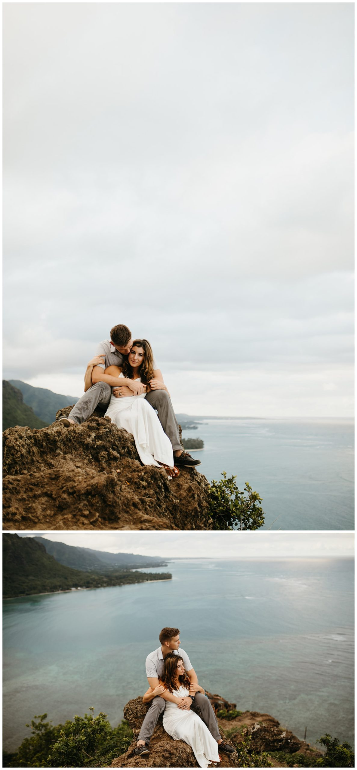 couple sitting on rocks overlooking oahu