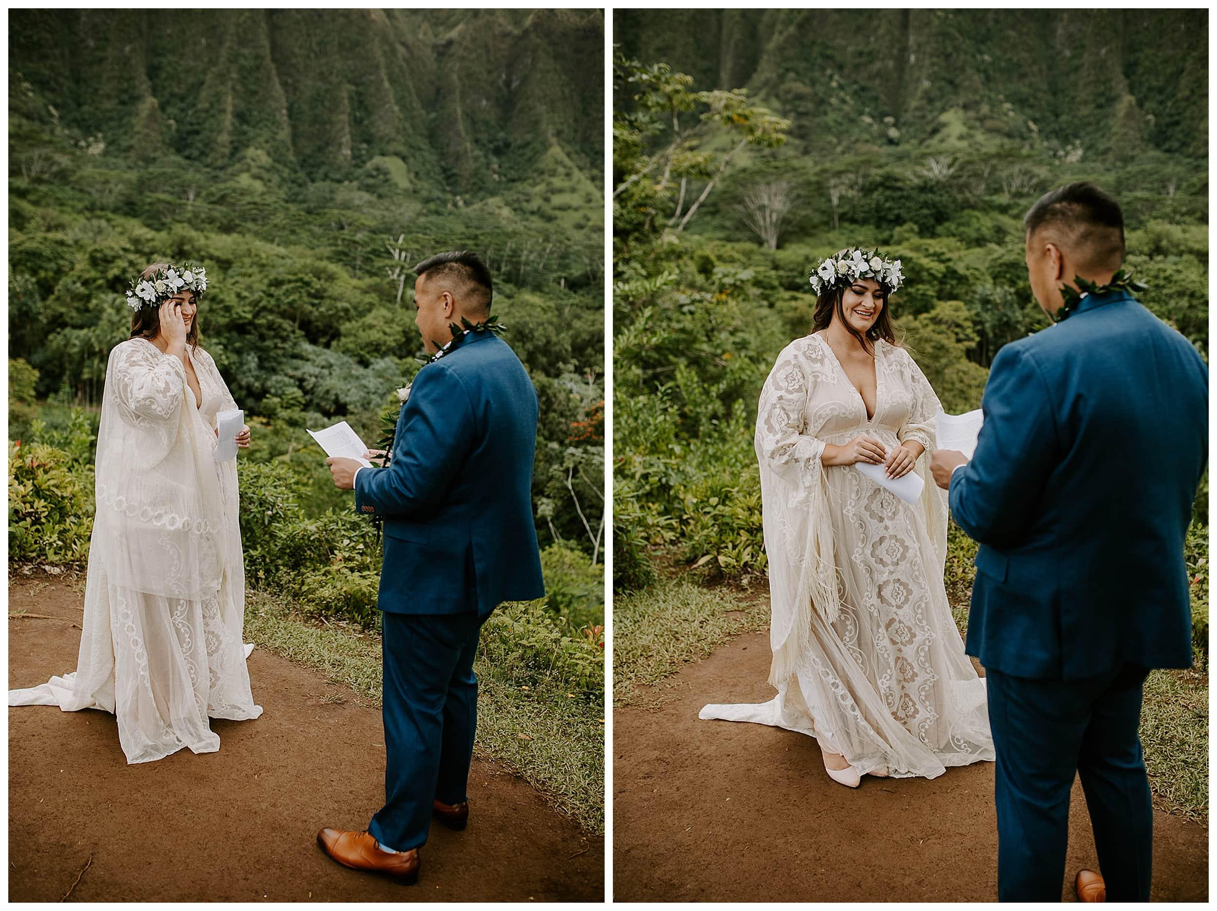 bride reading vows at Ho'omaluhia Botanical Garden