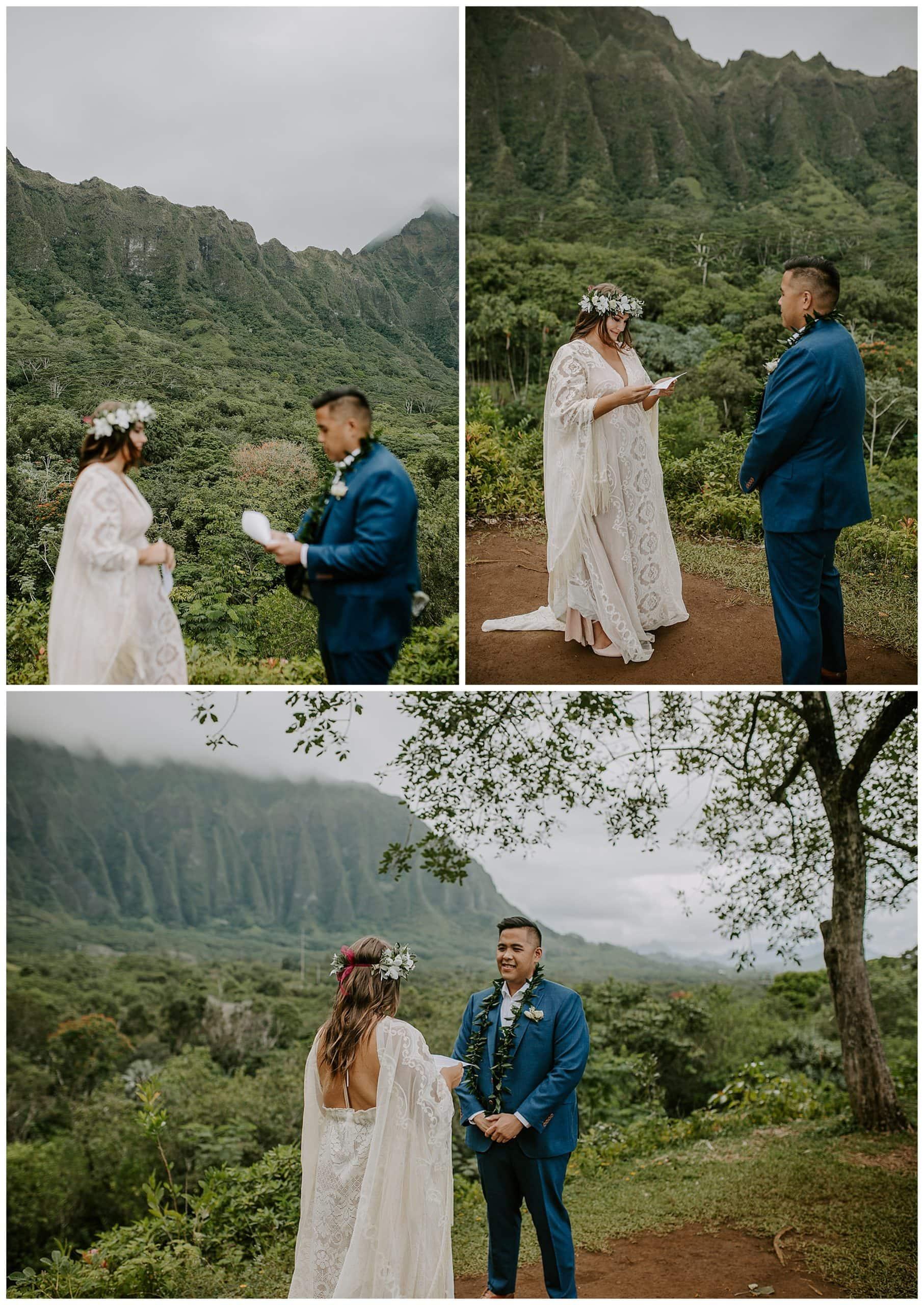 wedding ceremony at Ho'omaluhia Botanical Garden