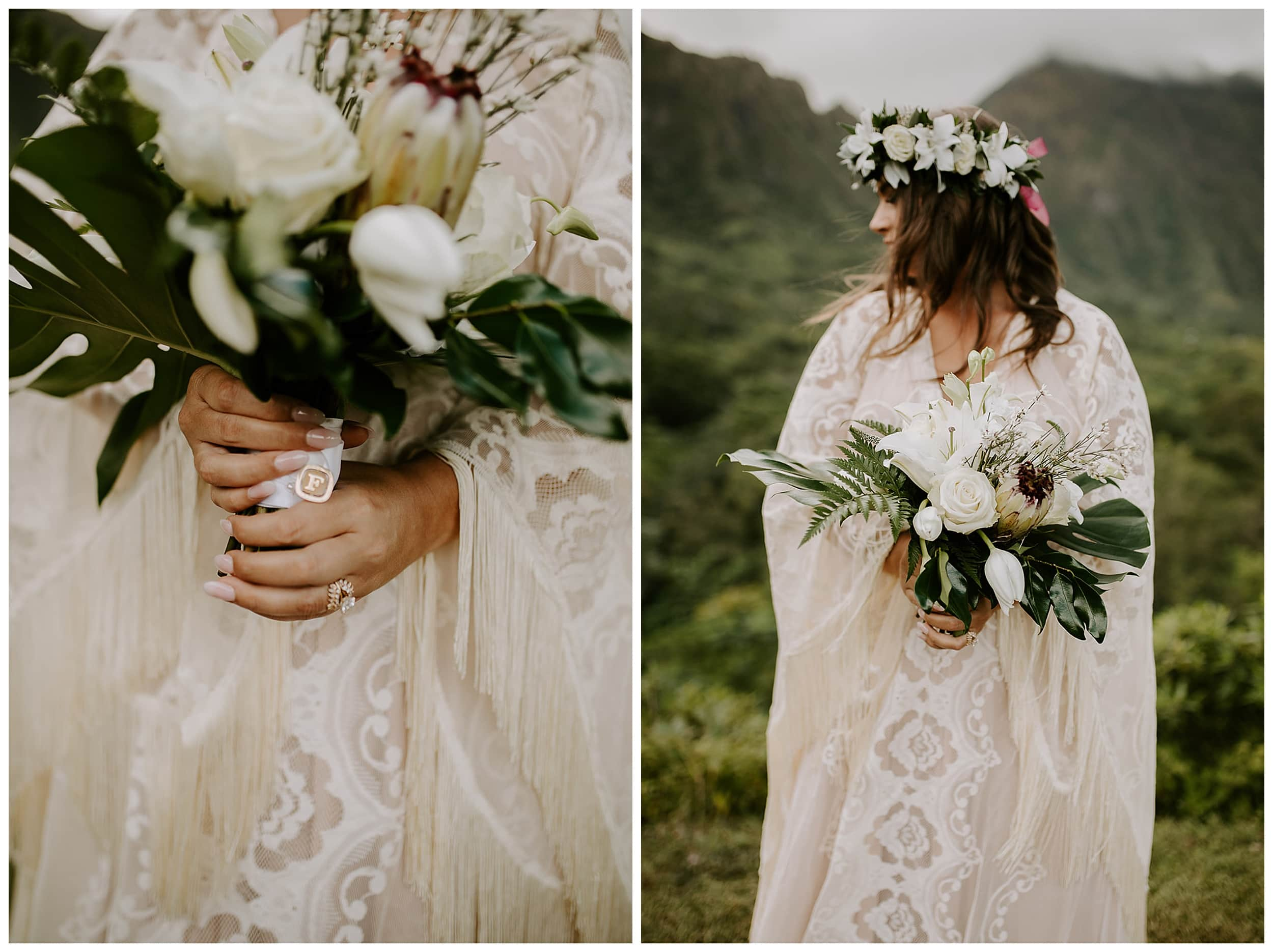 hawaii bride holding flowers