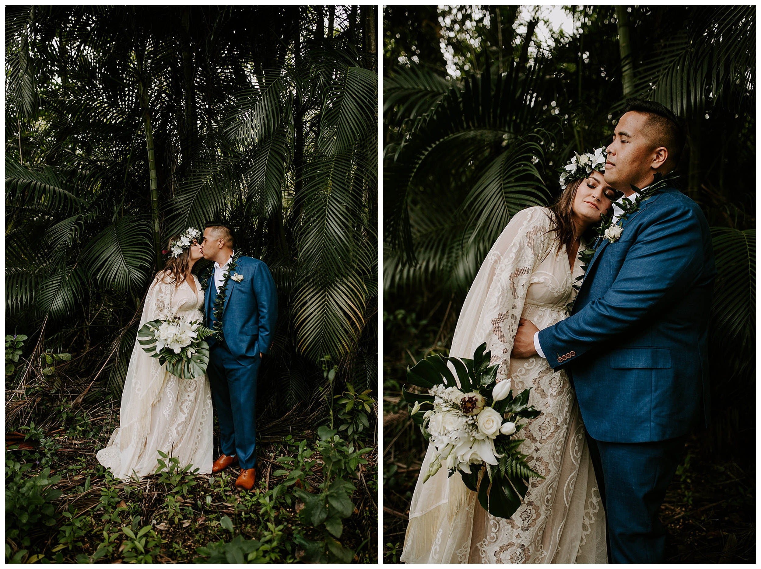 bride and groom at Ho'omaluhia Botanical Garden