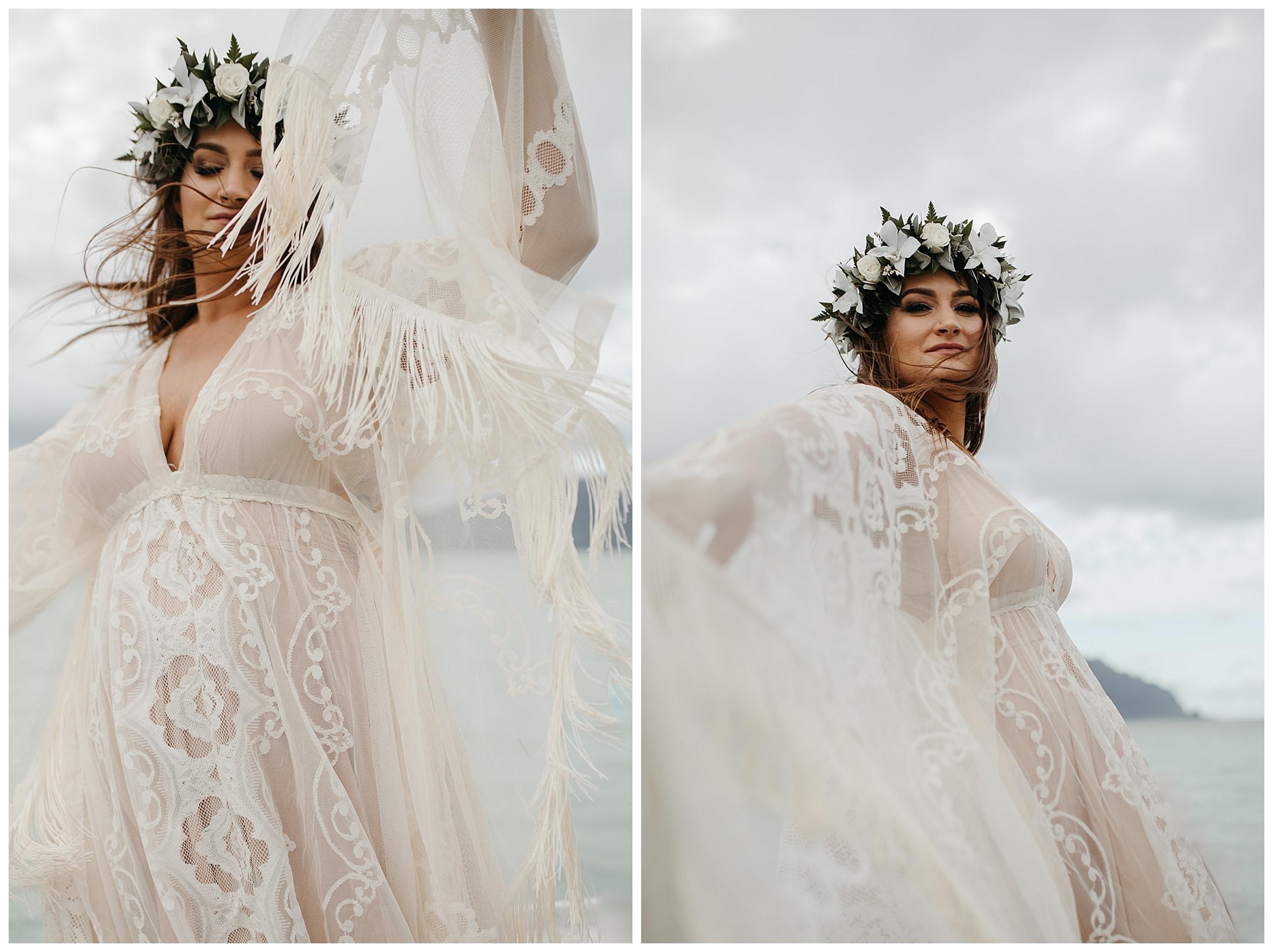 hawaii bride spinning in dress