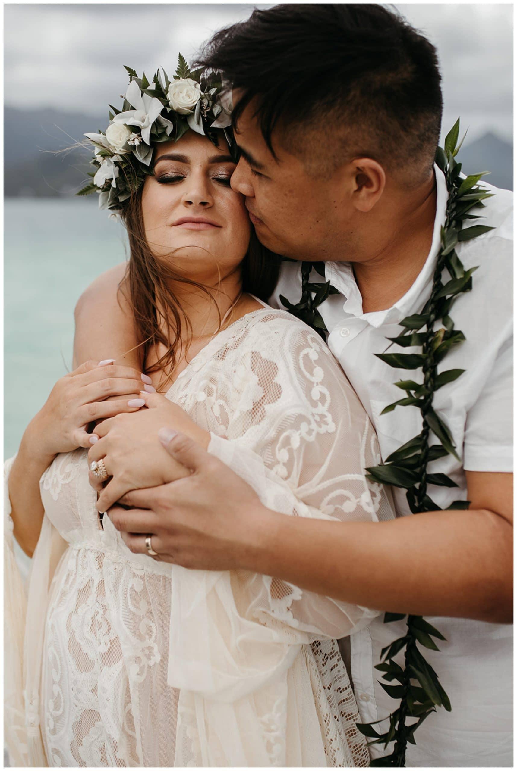 bride and groom at Kaneohe Sandbar