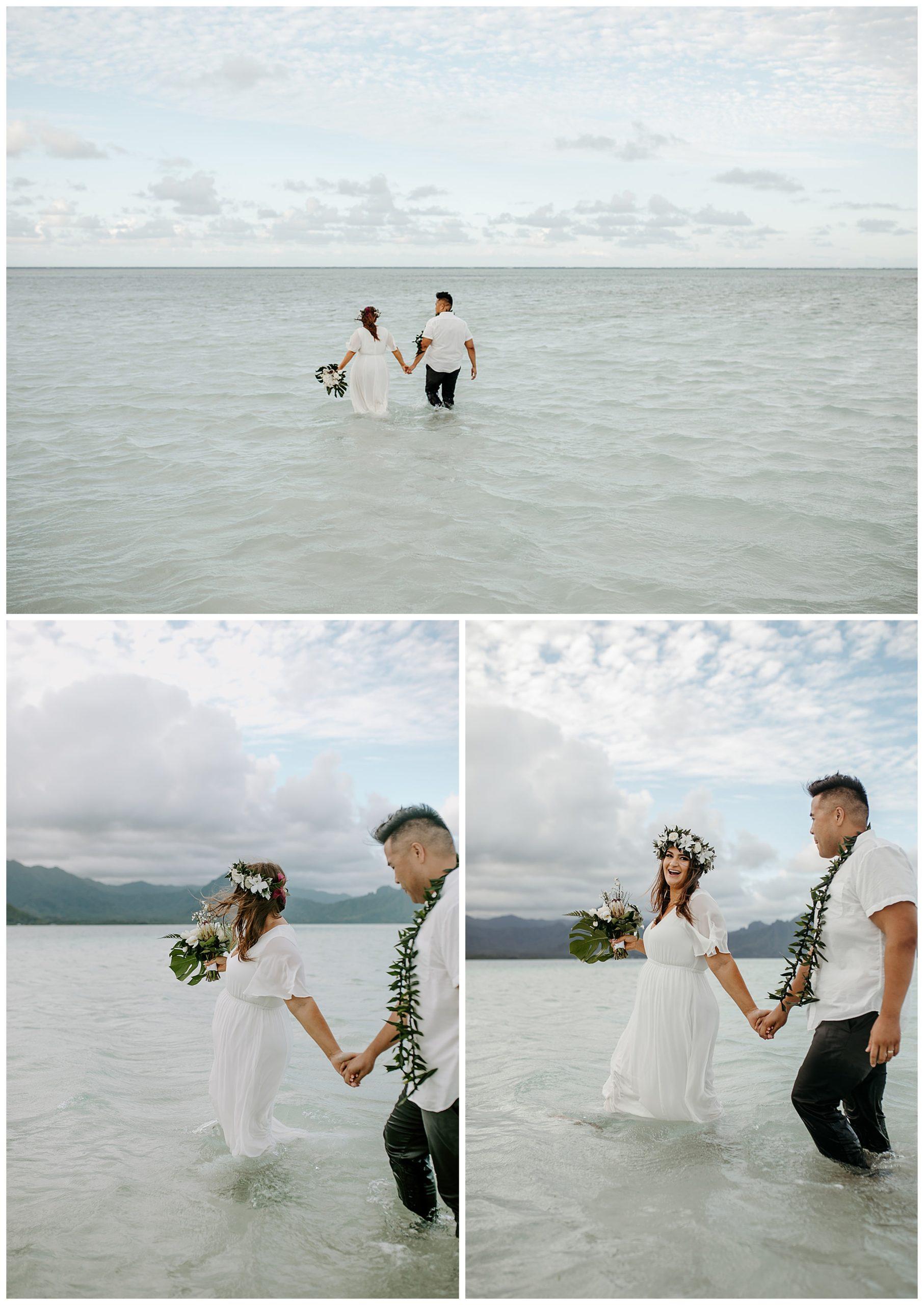 destination wedding at the Kaneohe Sandbar