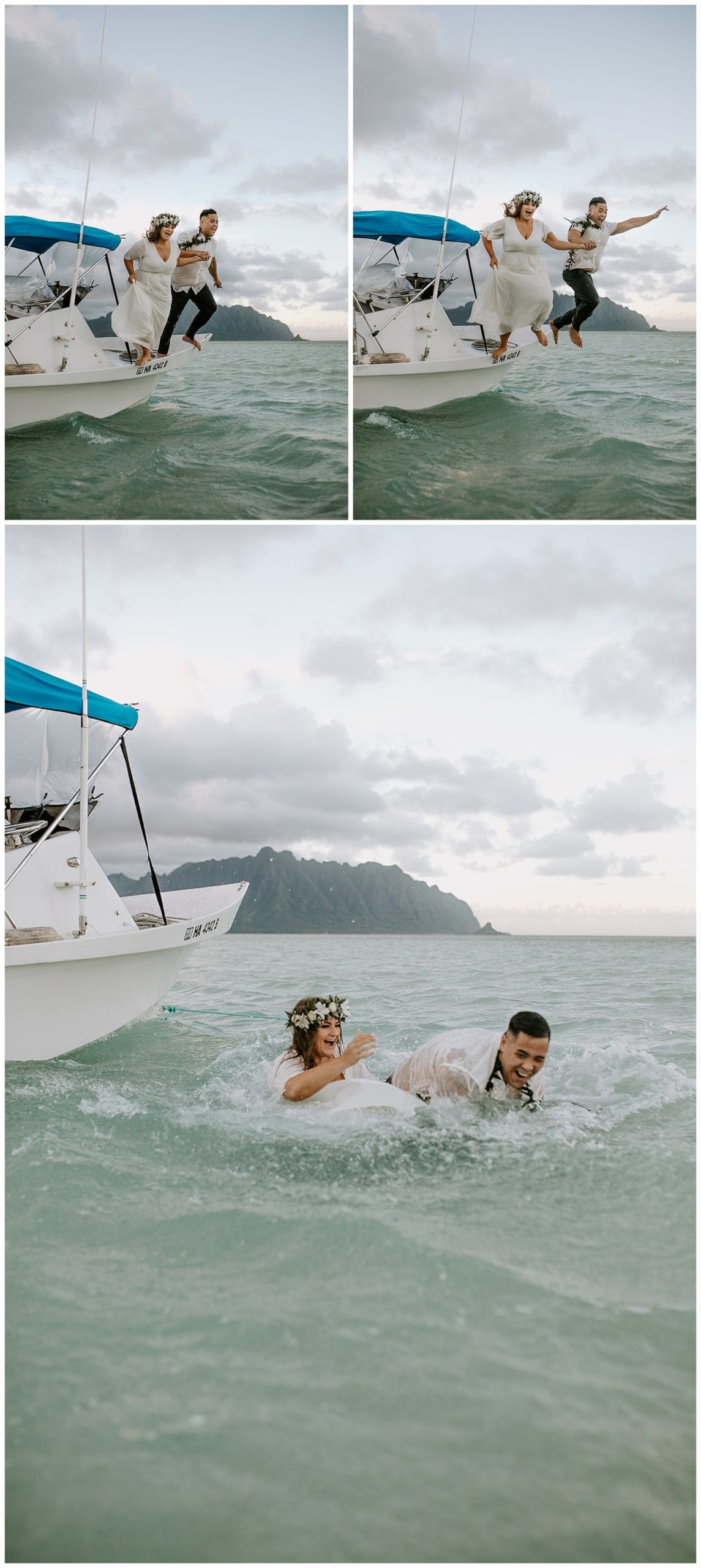 bride and groom jumping into ocean