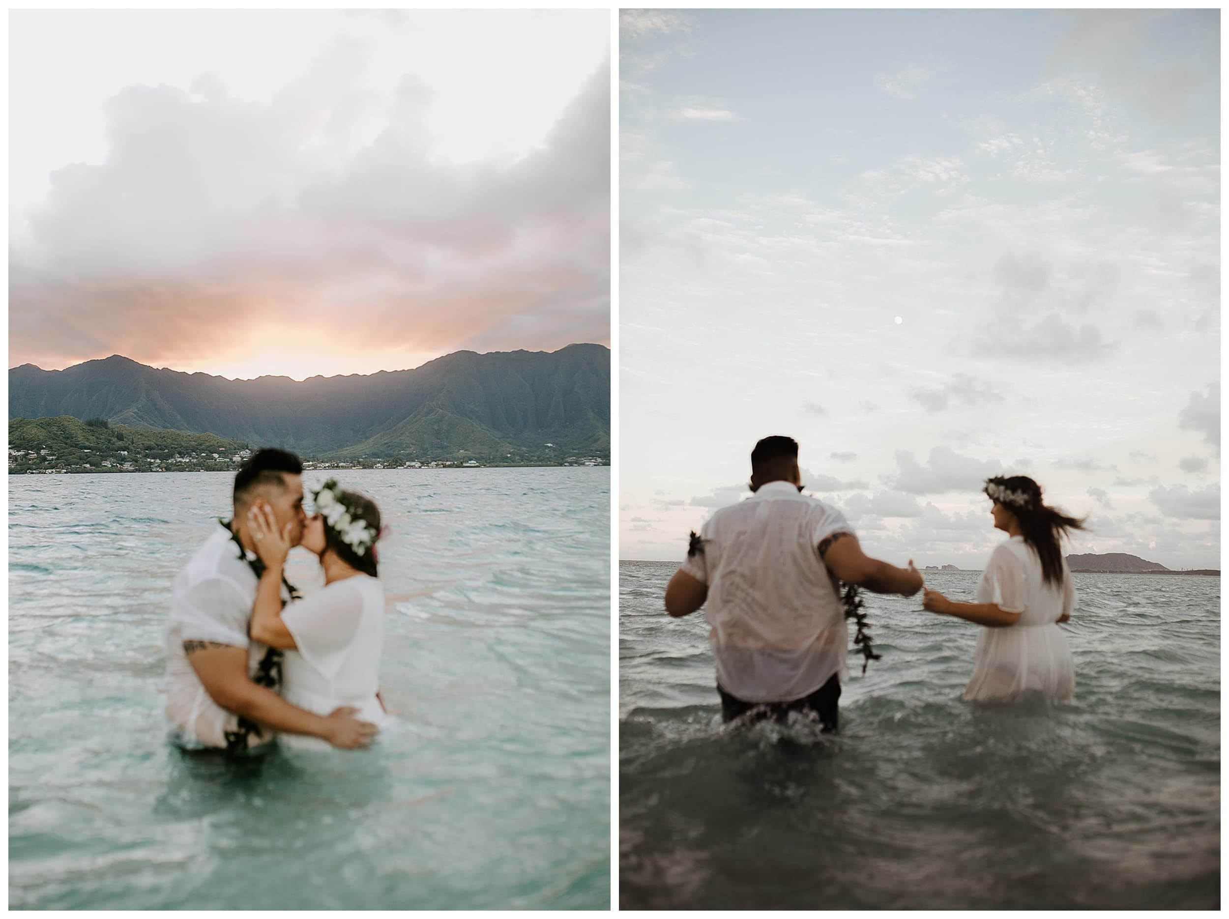 bride and groom kissing in ocean at sunset
