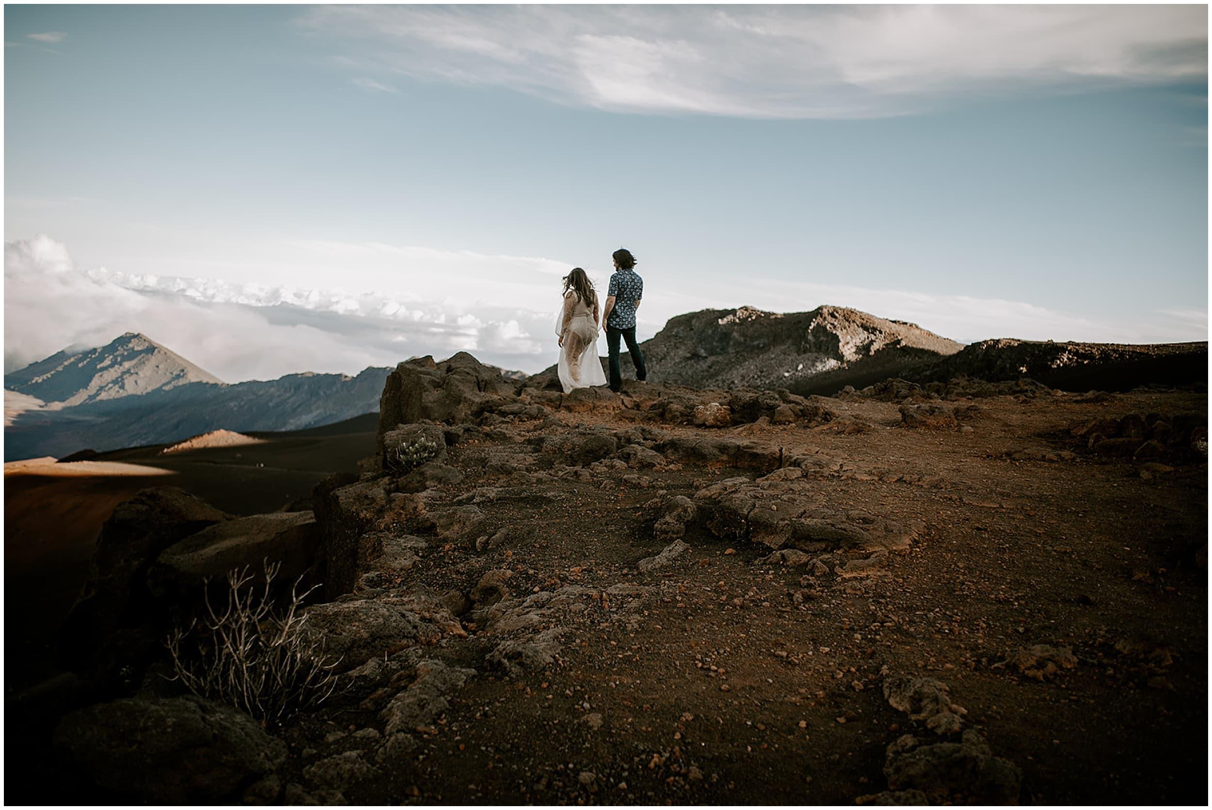couple walking on mountain
