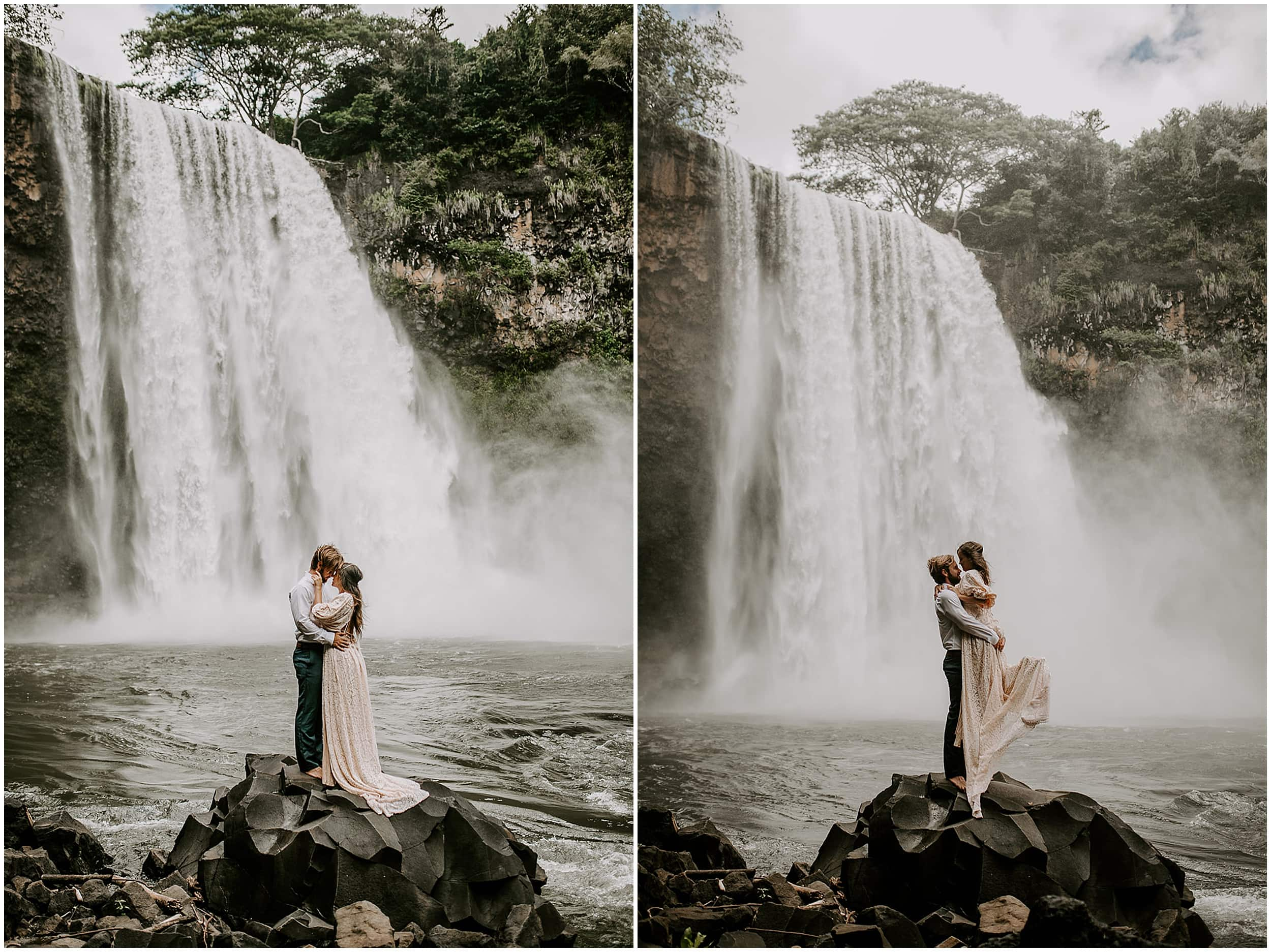 couple eloping at waterfall
