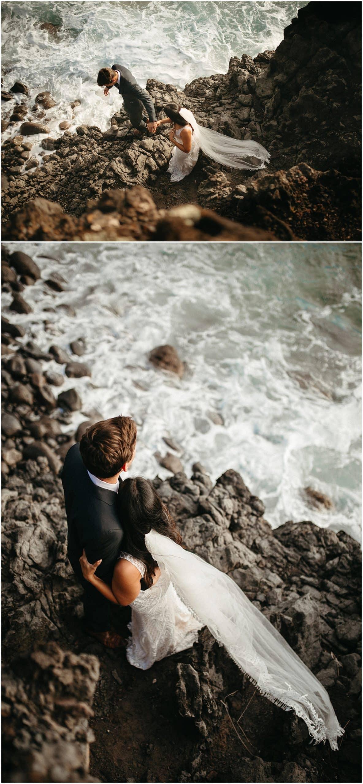 bride and groom at ocean