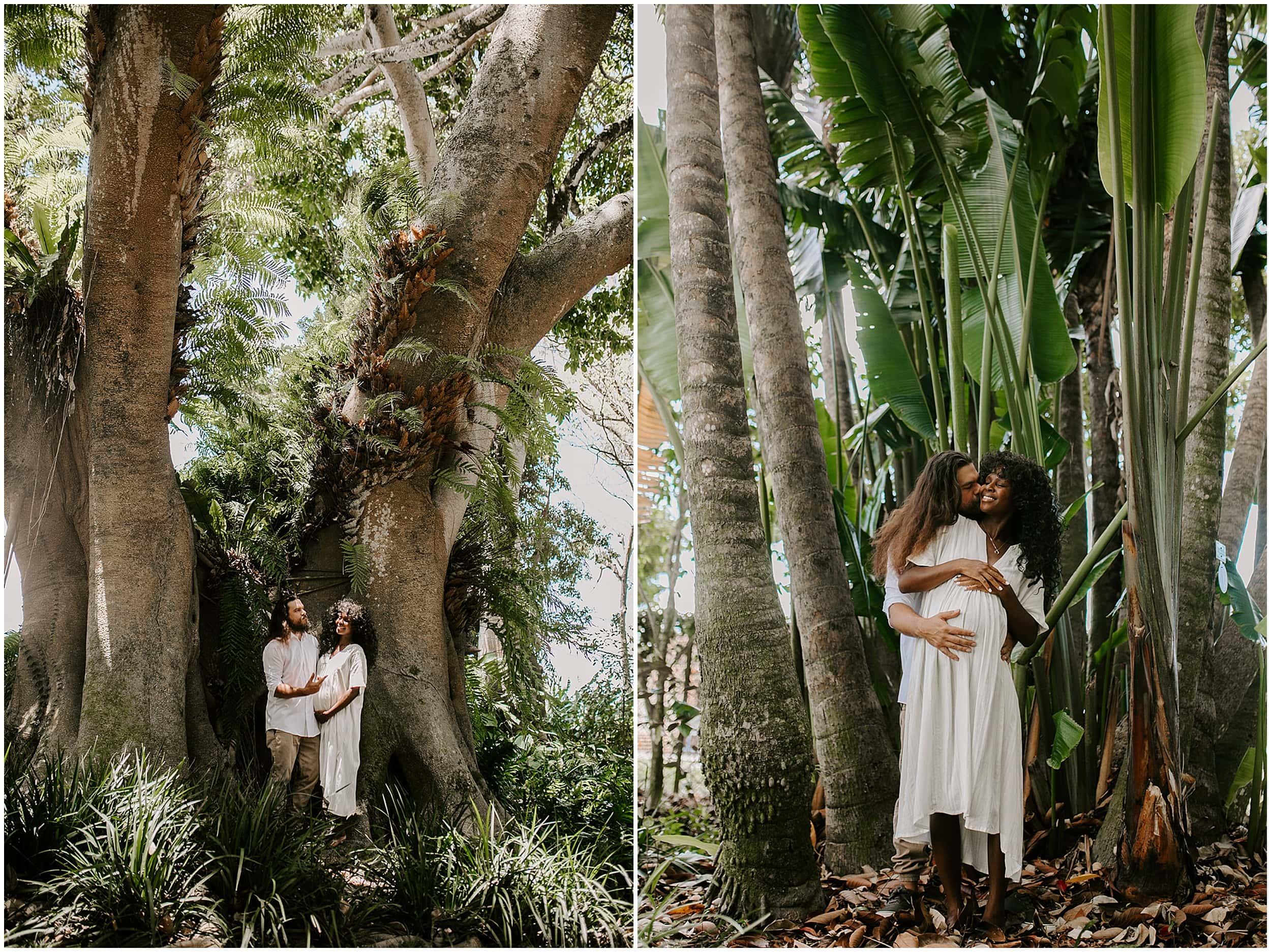 maternity photos in hawaiian jungle