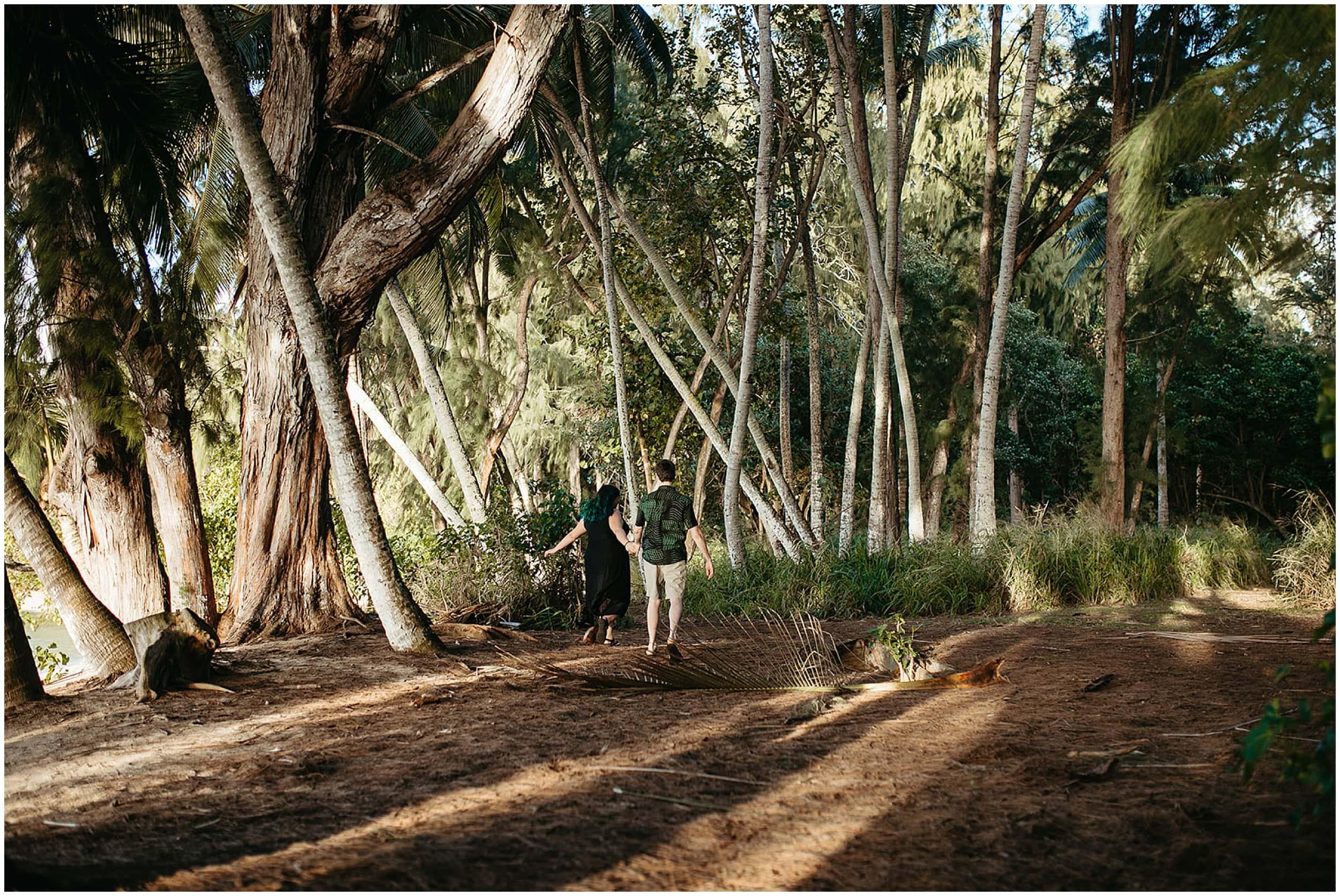 couple running through jungle