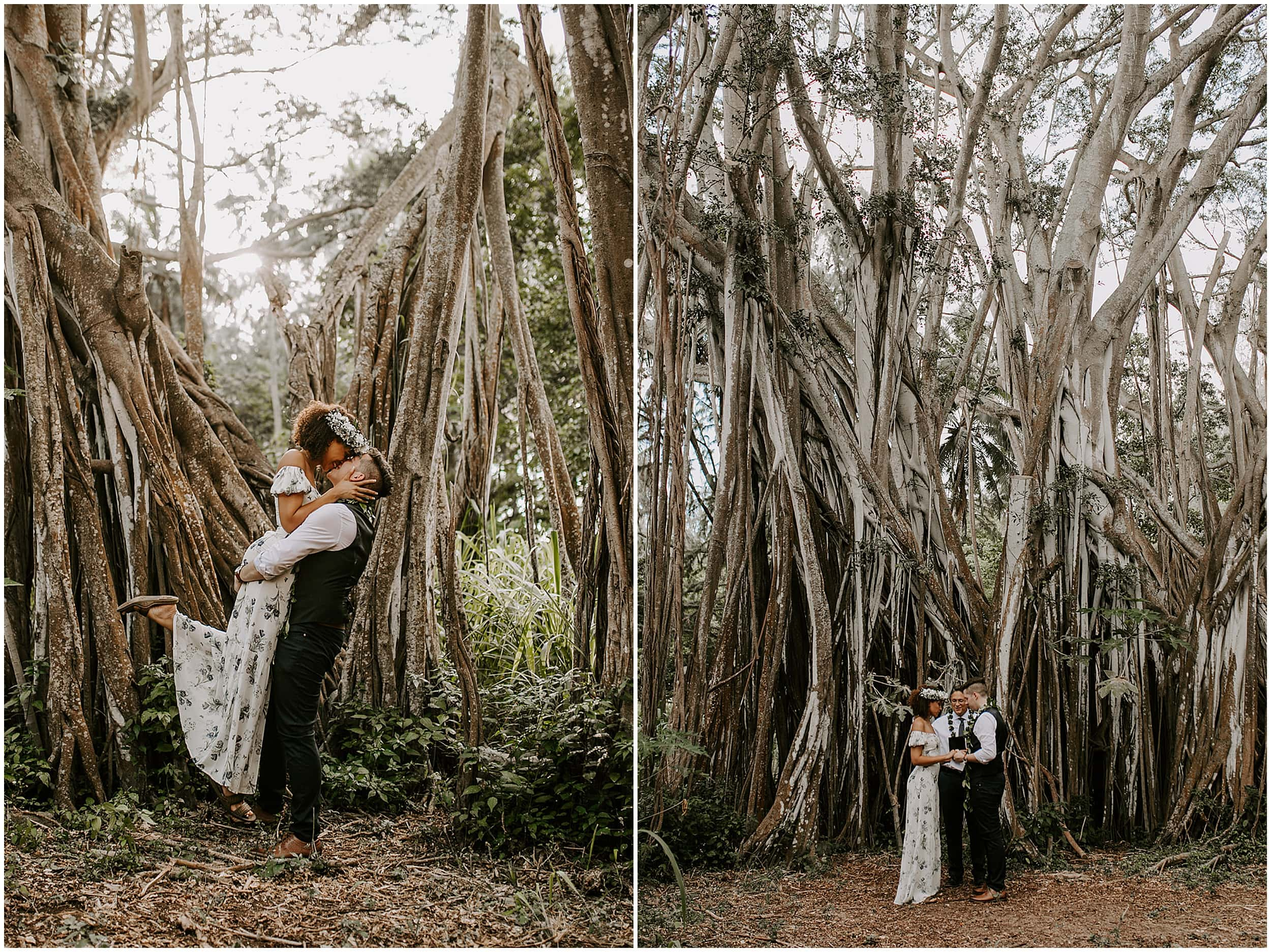bride and groom in jungle