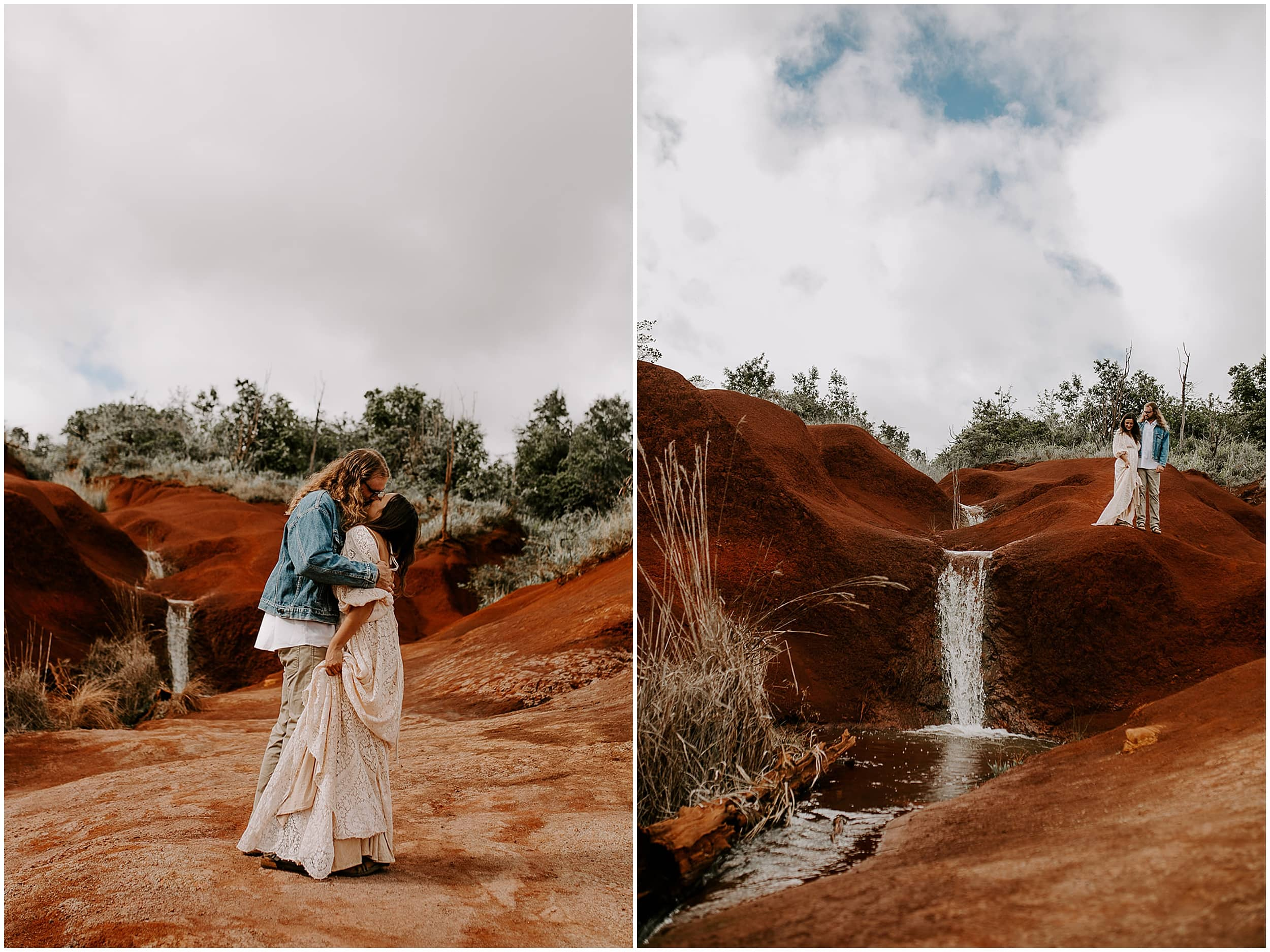 bride and groom in kauai