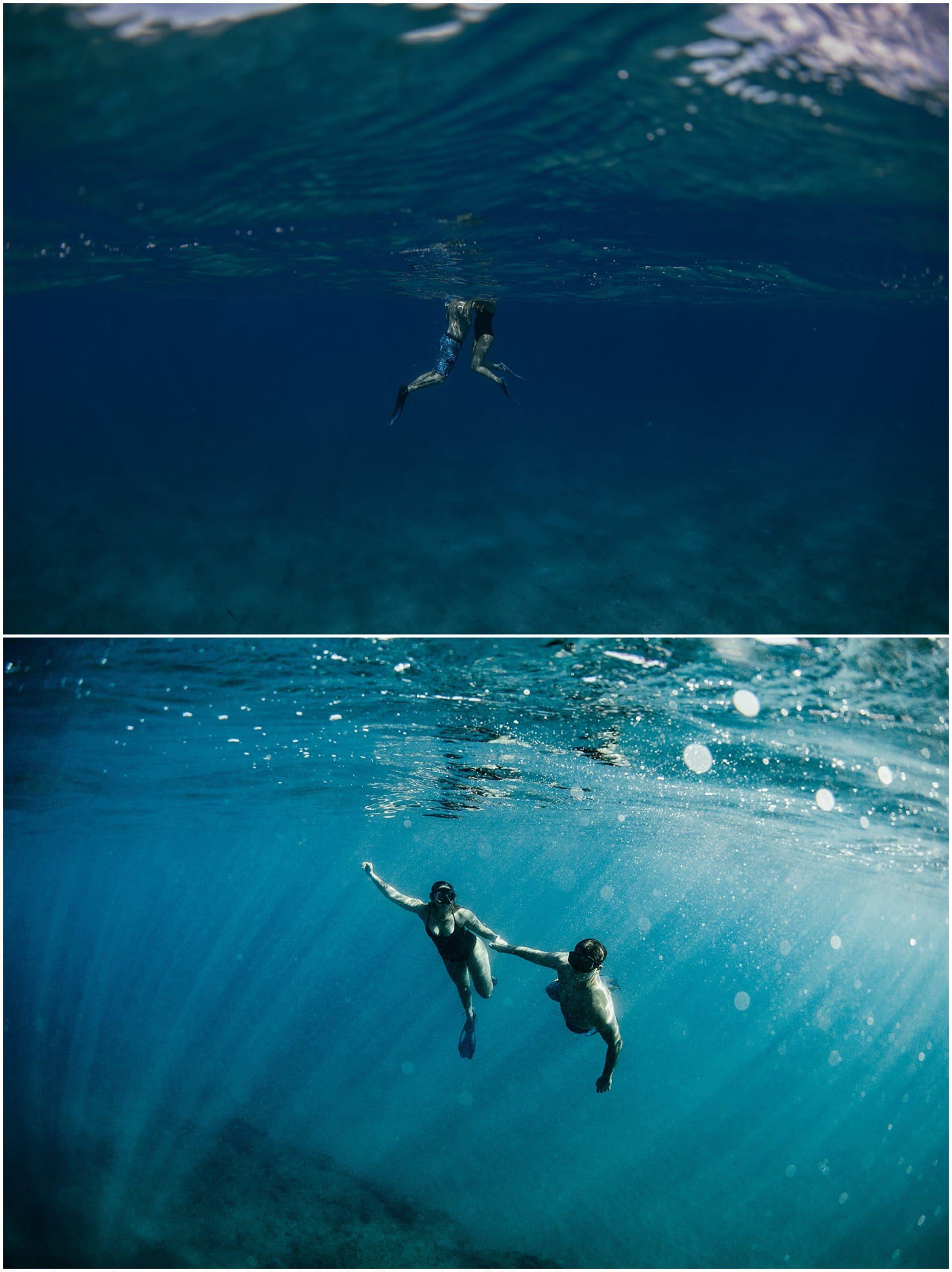 couple swimming in ocean