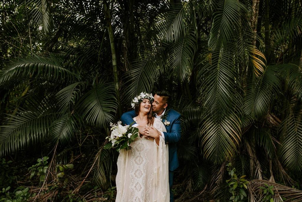 bride and groom getting married in garden