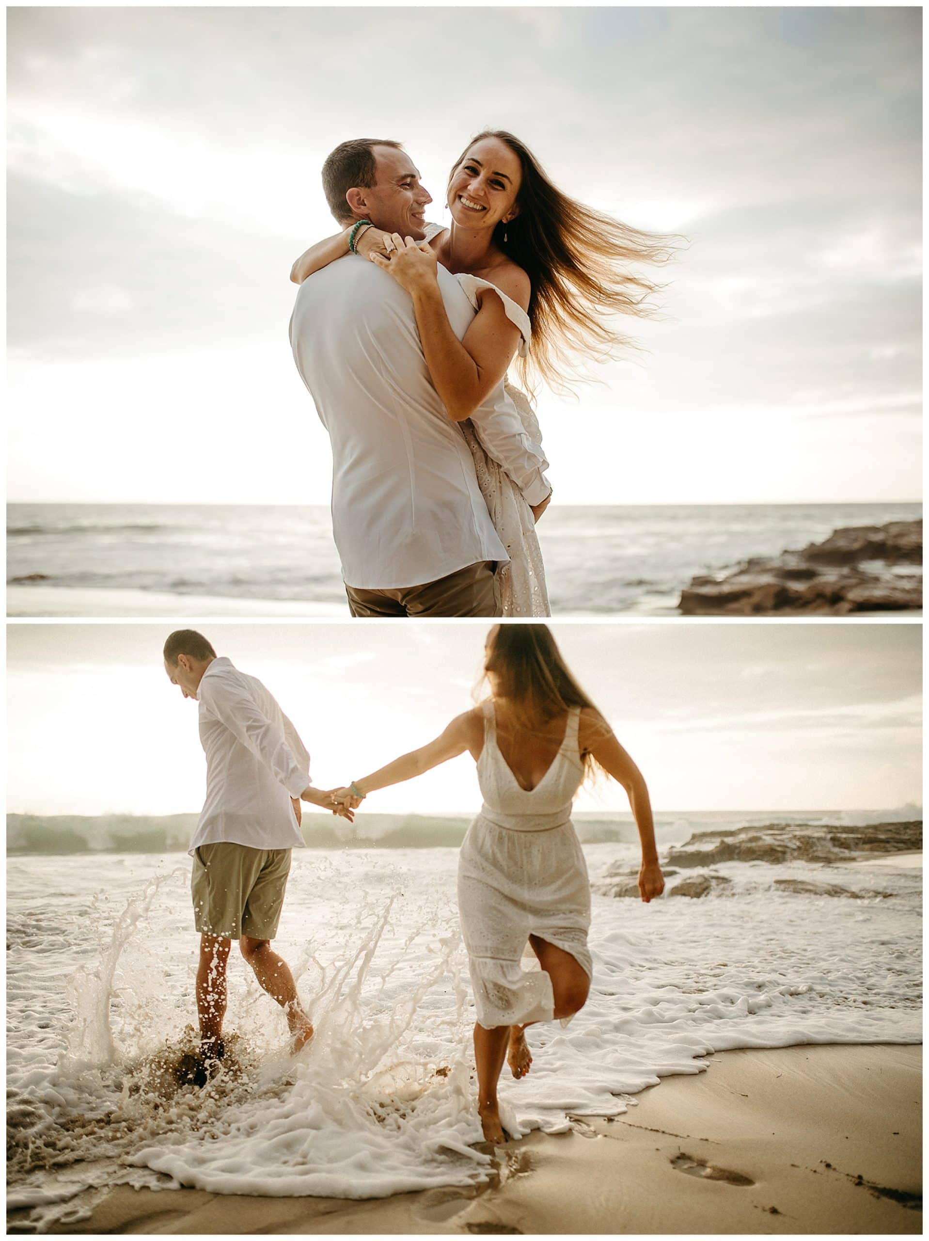 couple dancing and running on beach