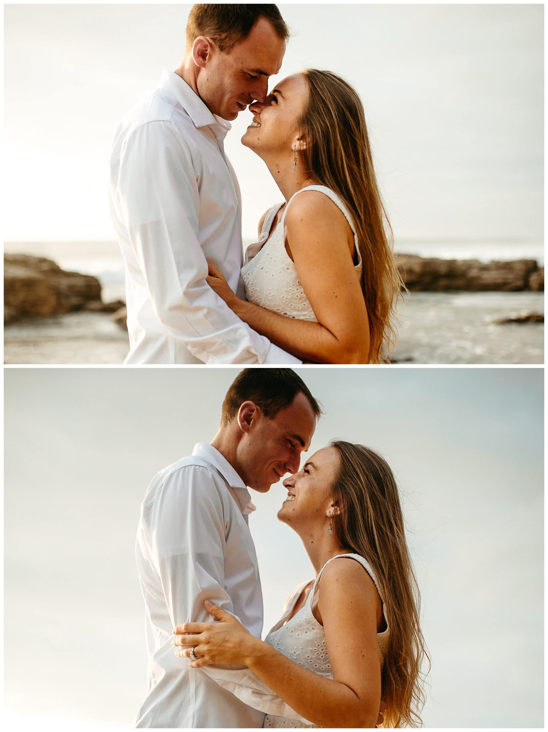 couple kissing and smiling