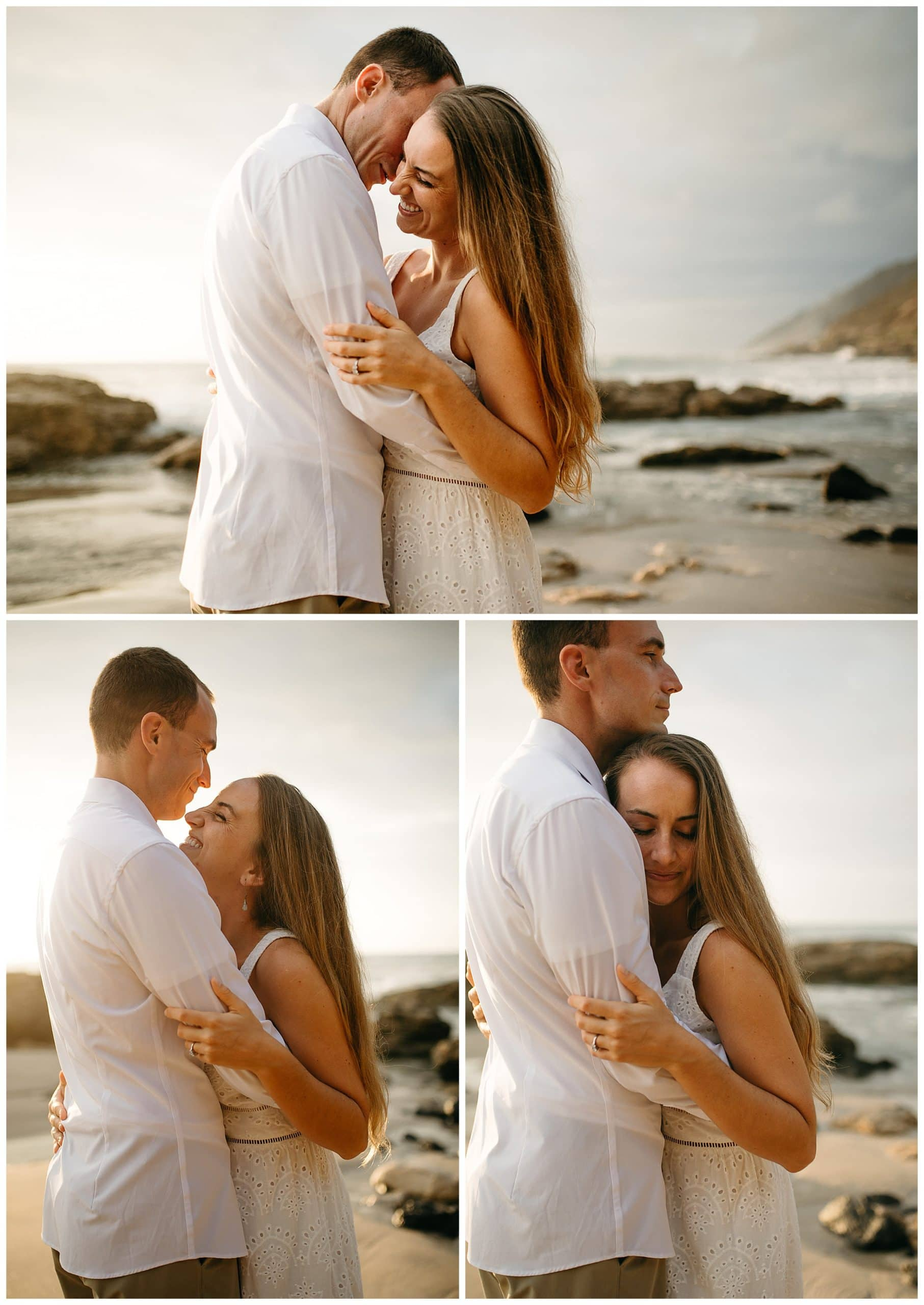couple kissing and hugging on beach
