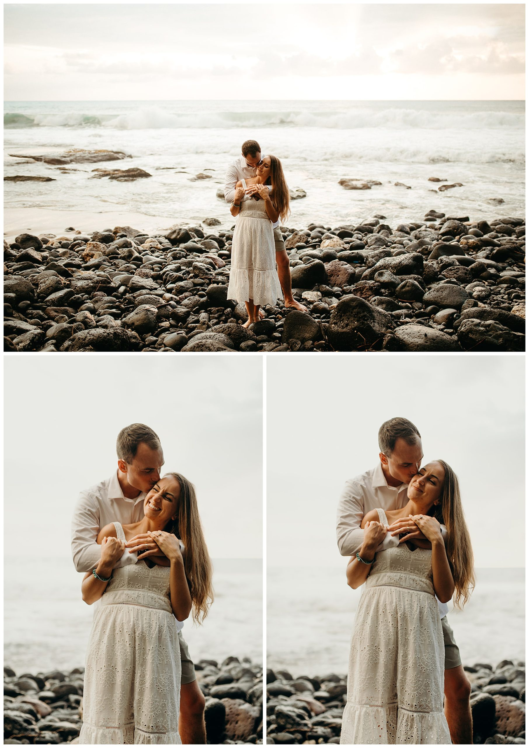 couple kissing by beach