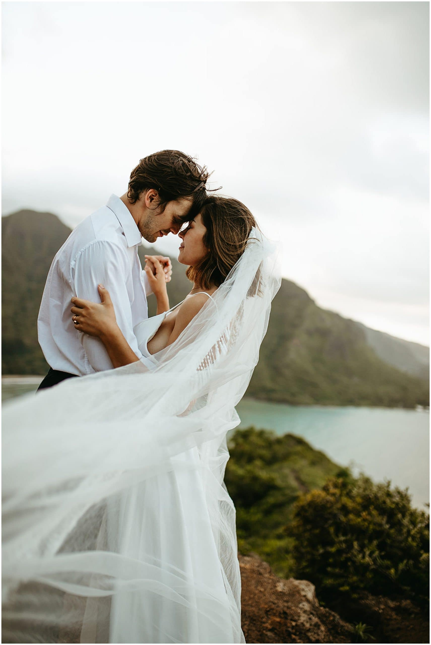 bride's veil blowing in the wind