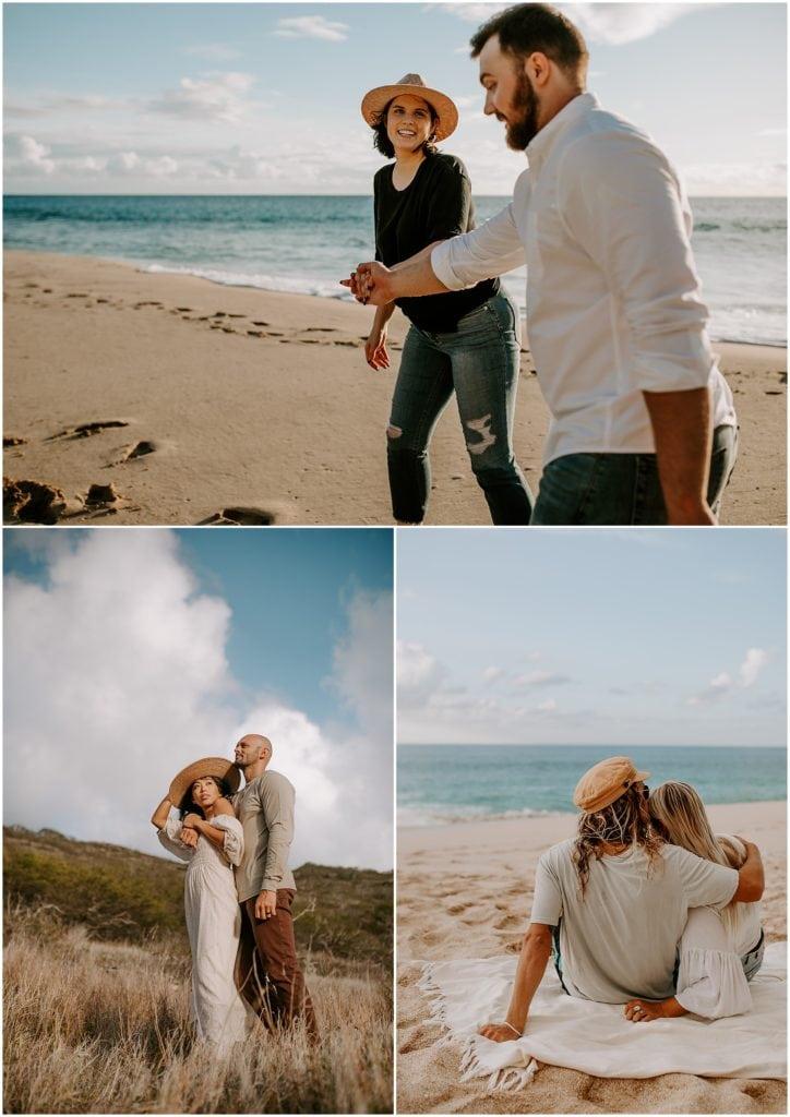 couple taking photos on beach