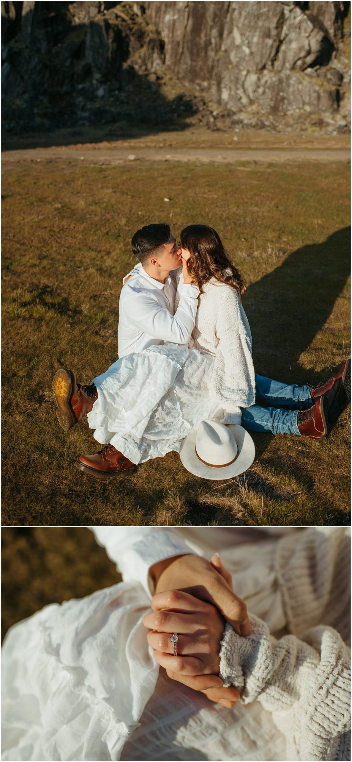 couple kissing on grass