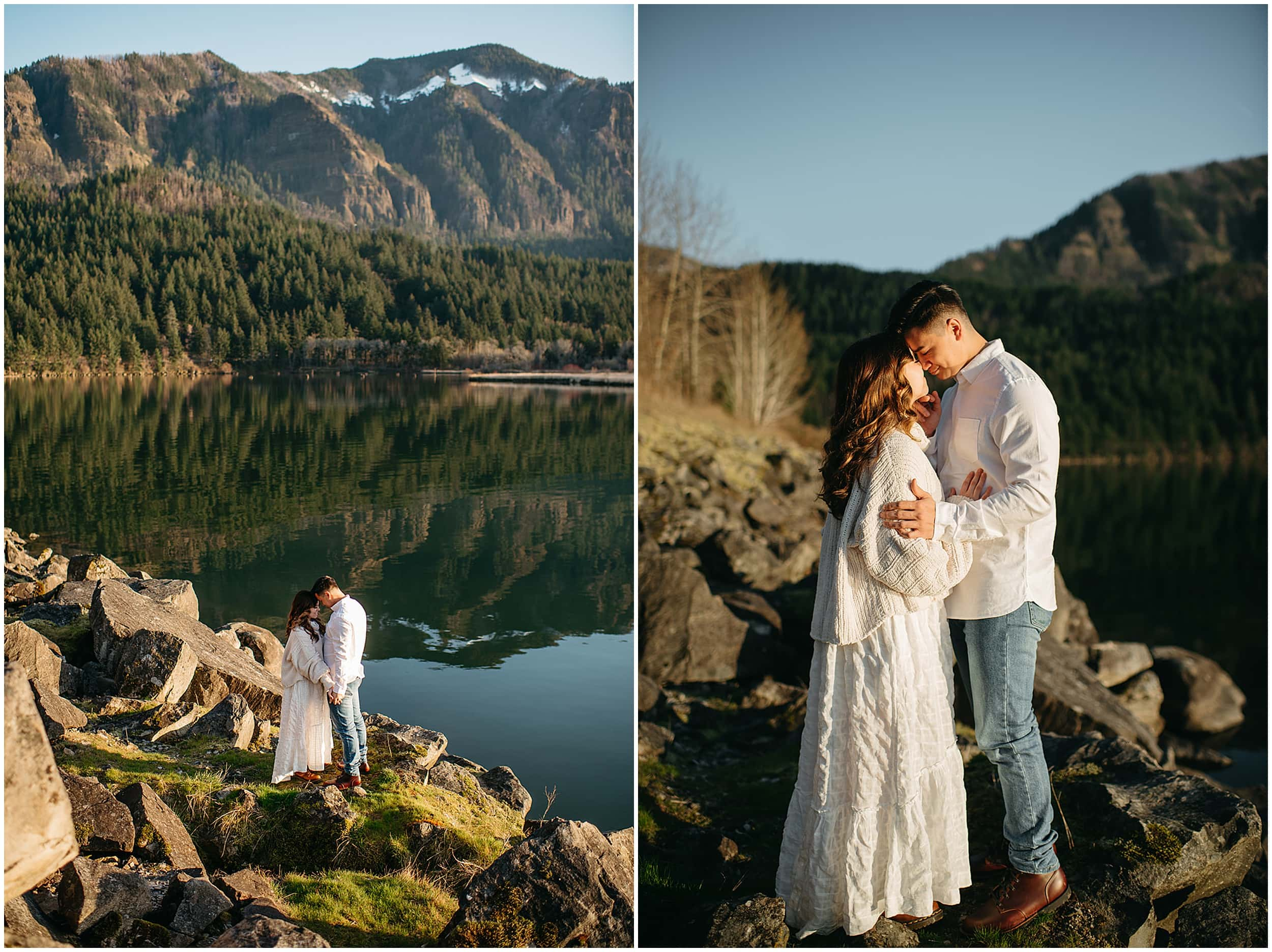 couple kissing by lake