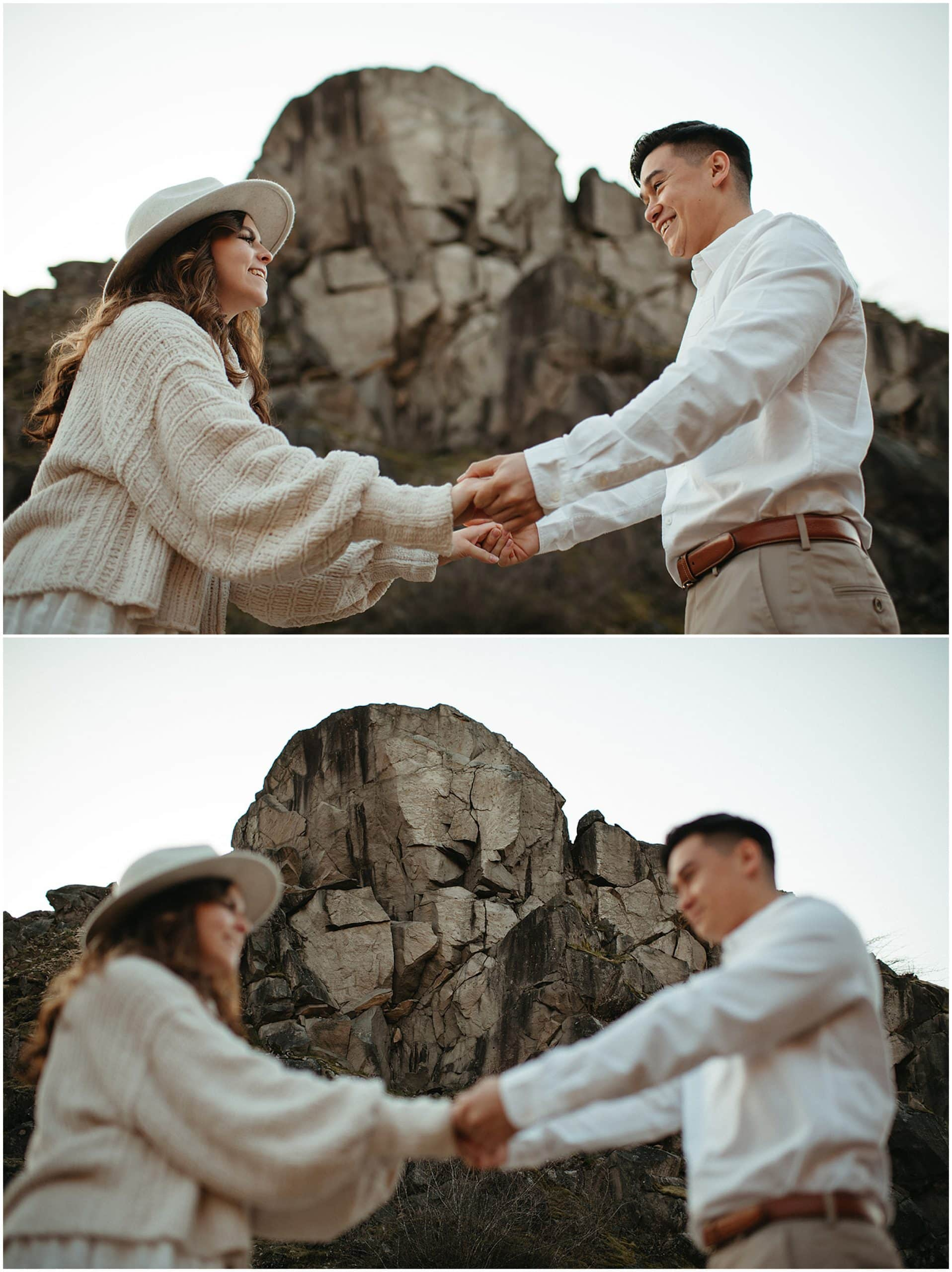 couple holding hands and dancing