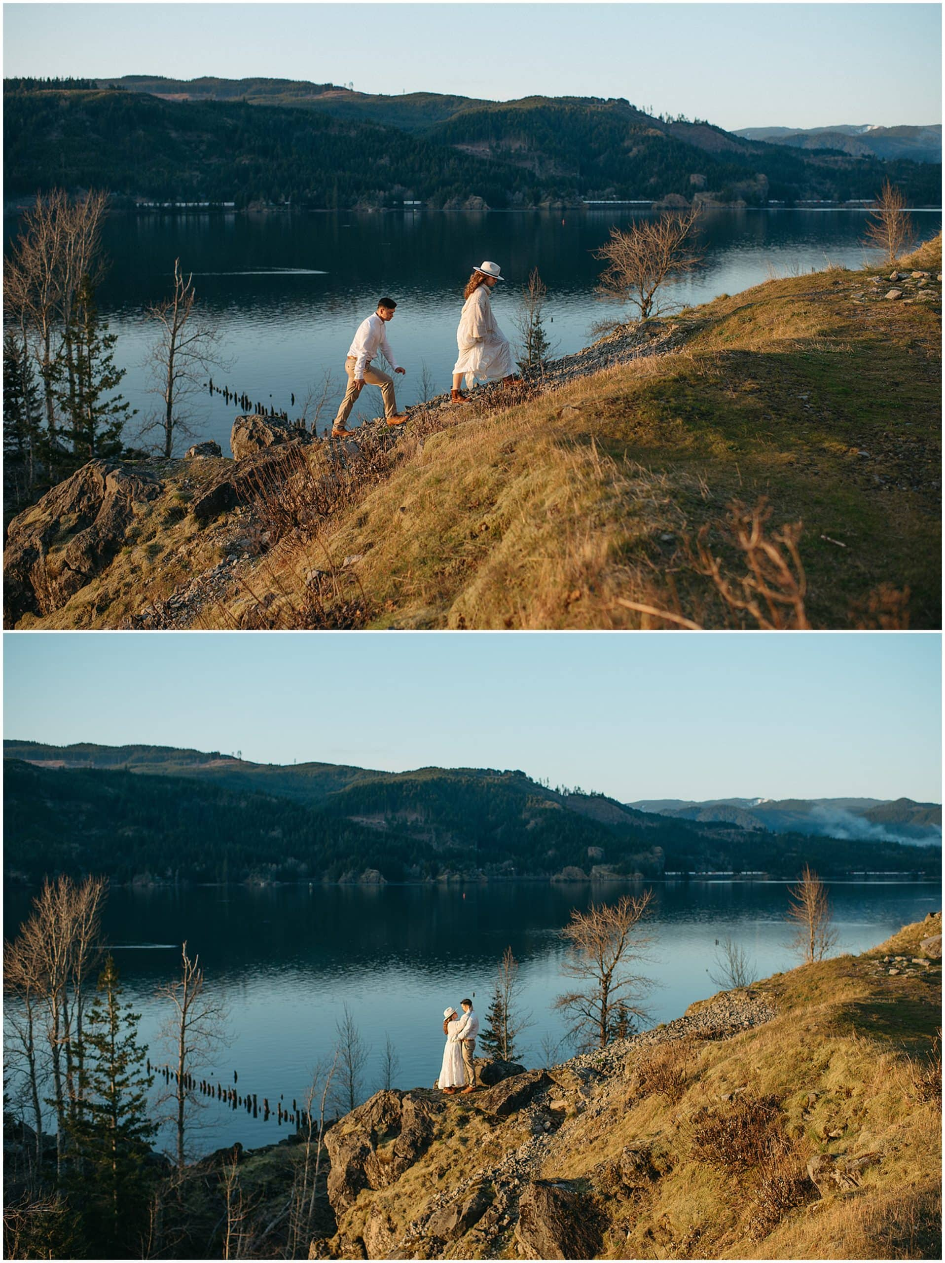 couple walking up a hill