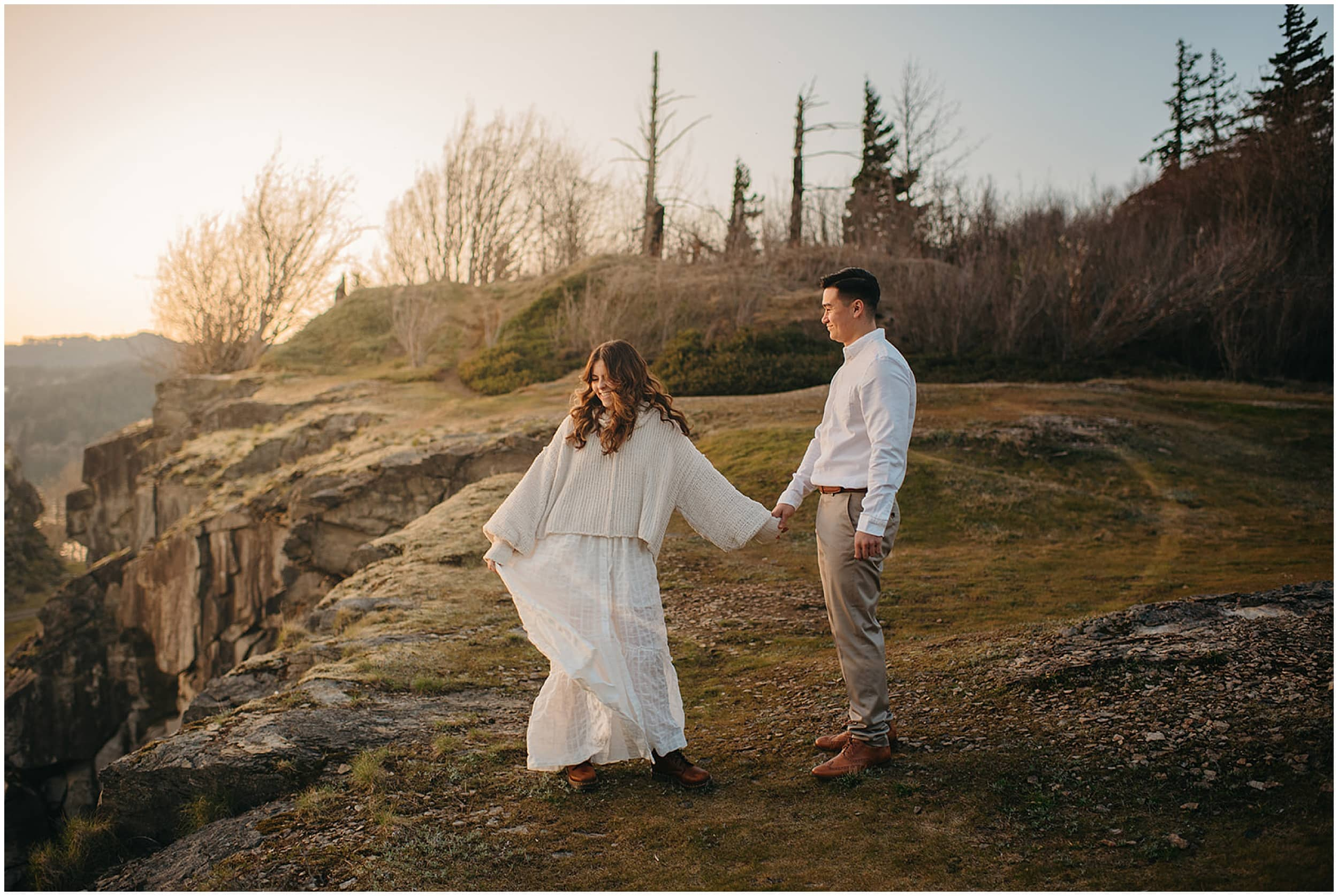 couple walking on hill