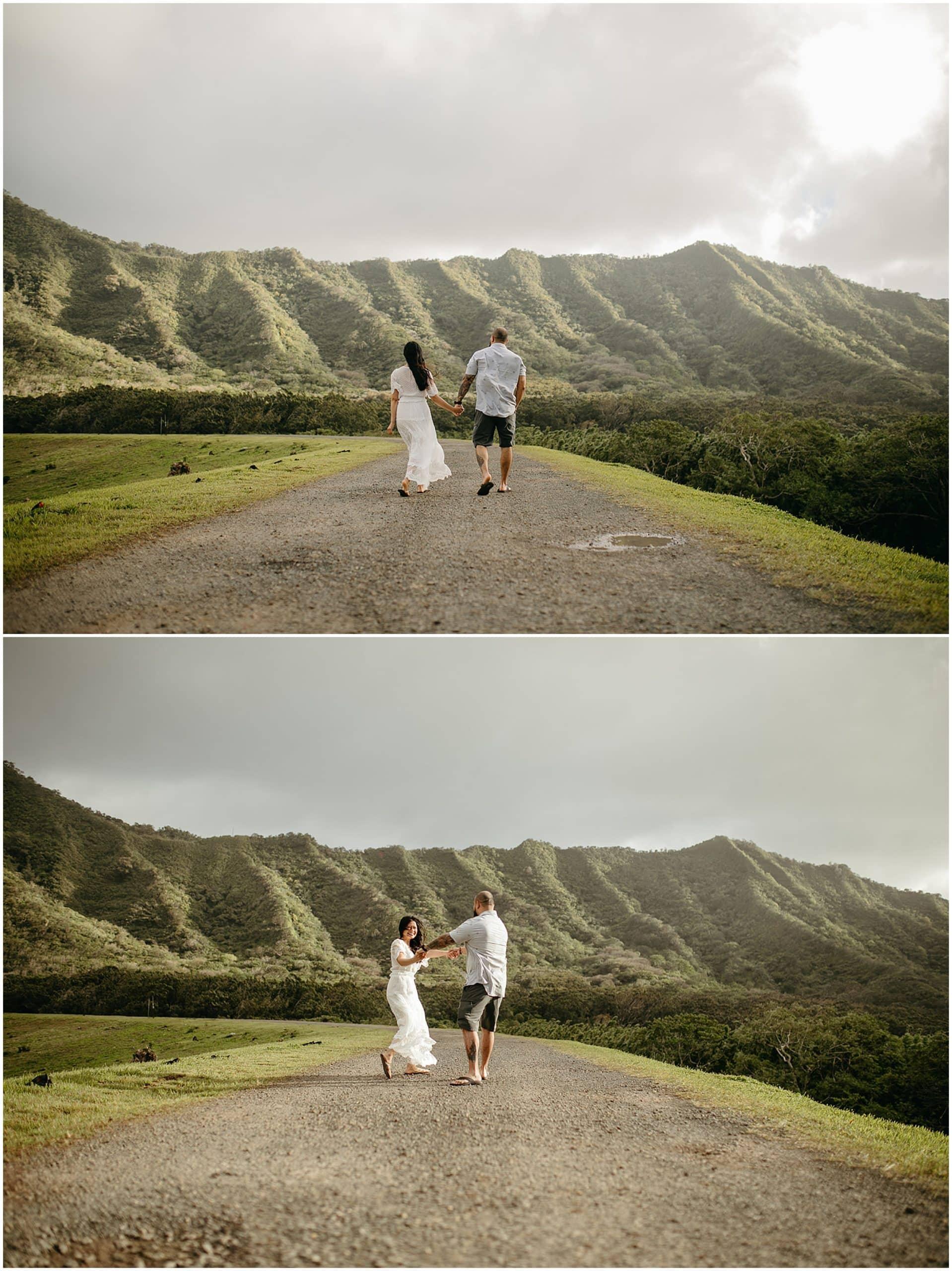 couple walking in oahu