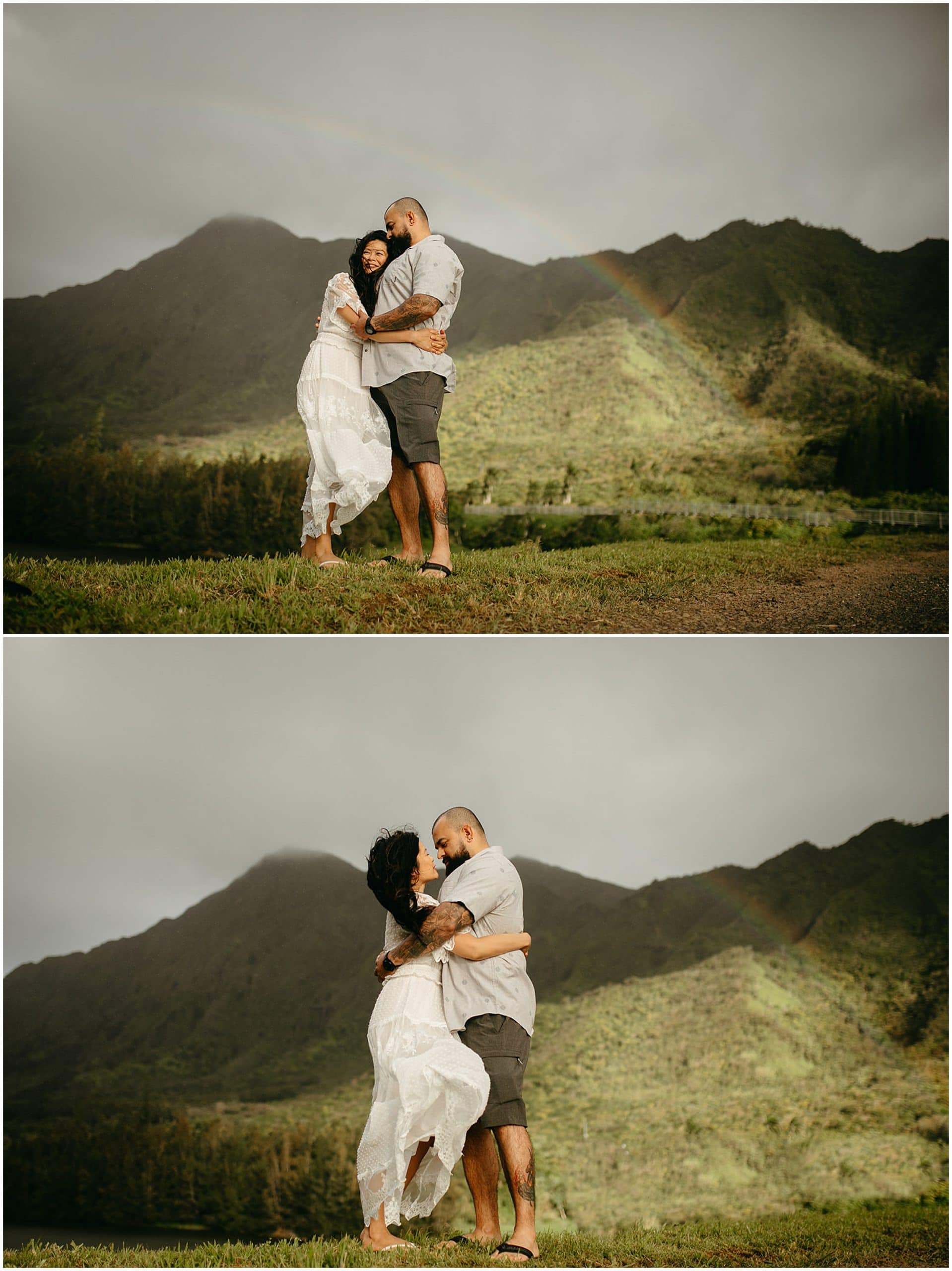 couple in front of rainbow