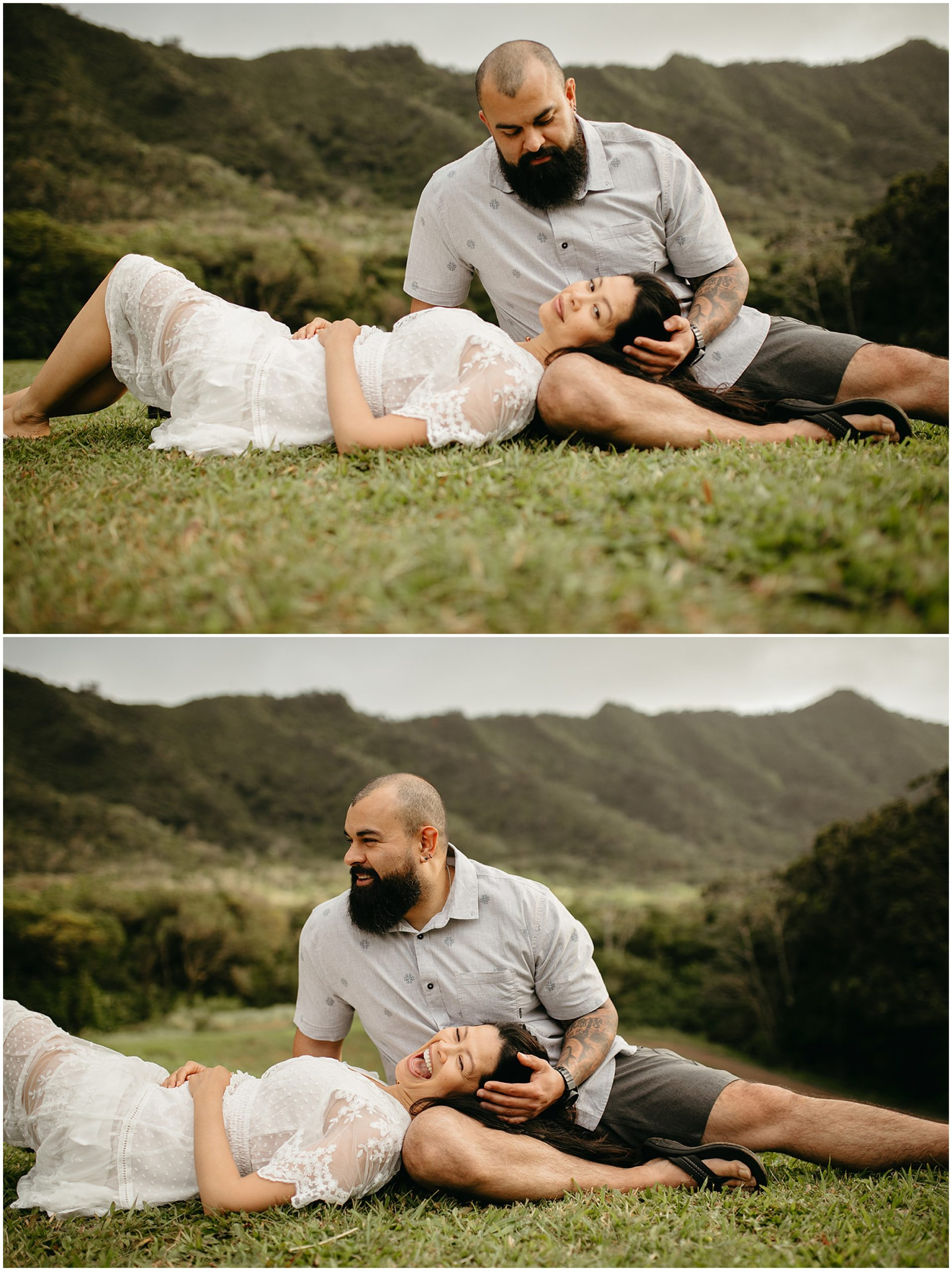 woman laying on man's lap