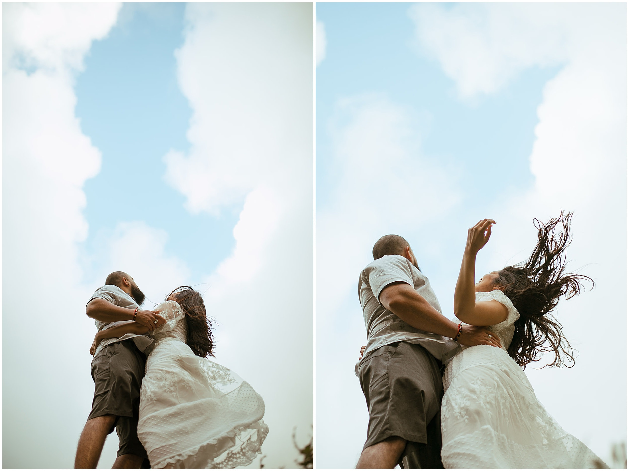 couple dancing in wind