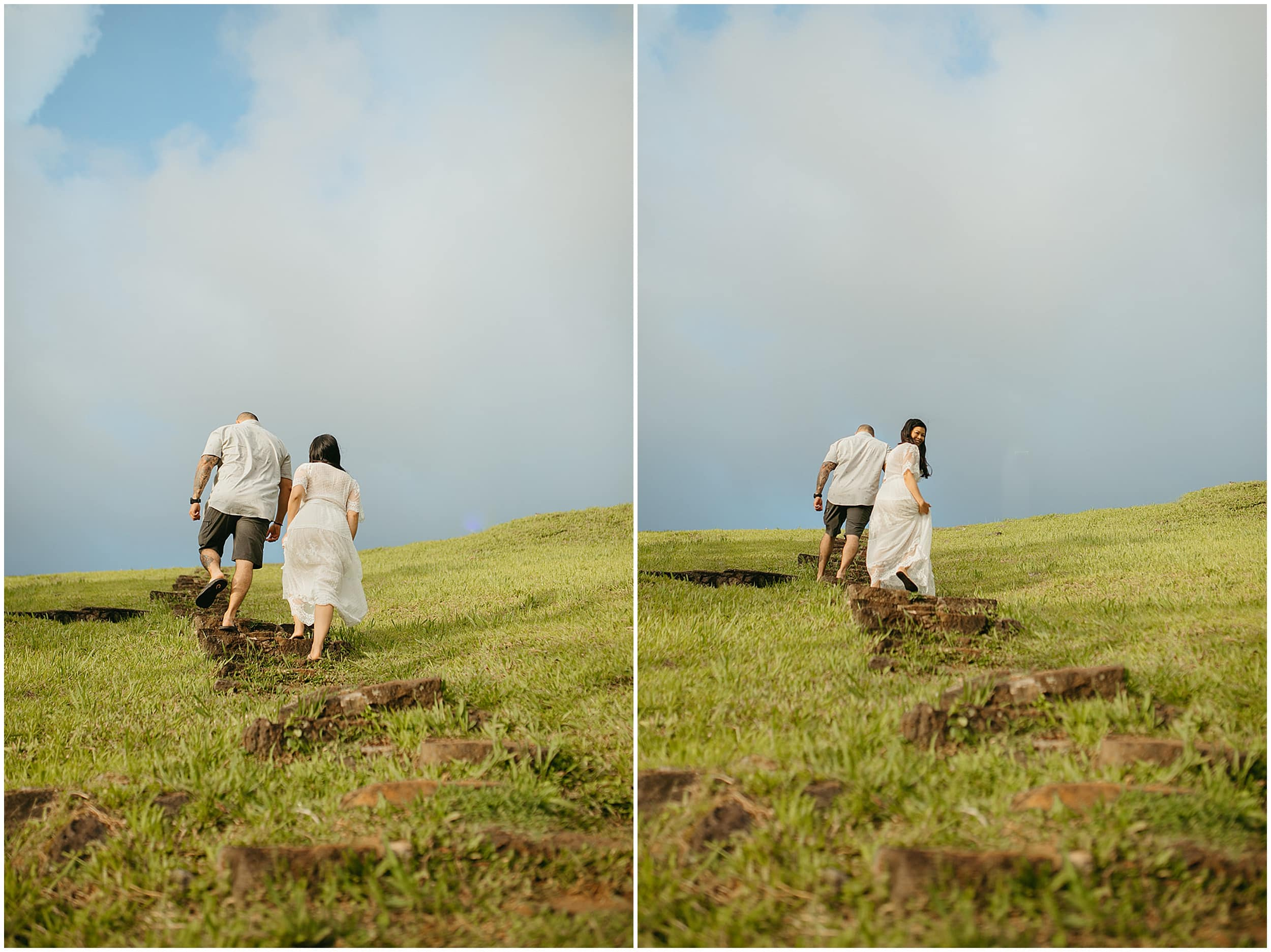 couple walking up grassy hill