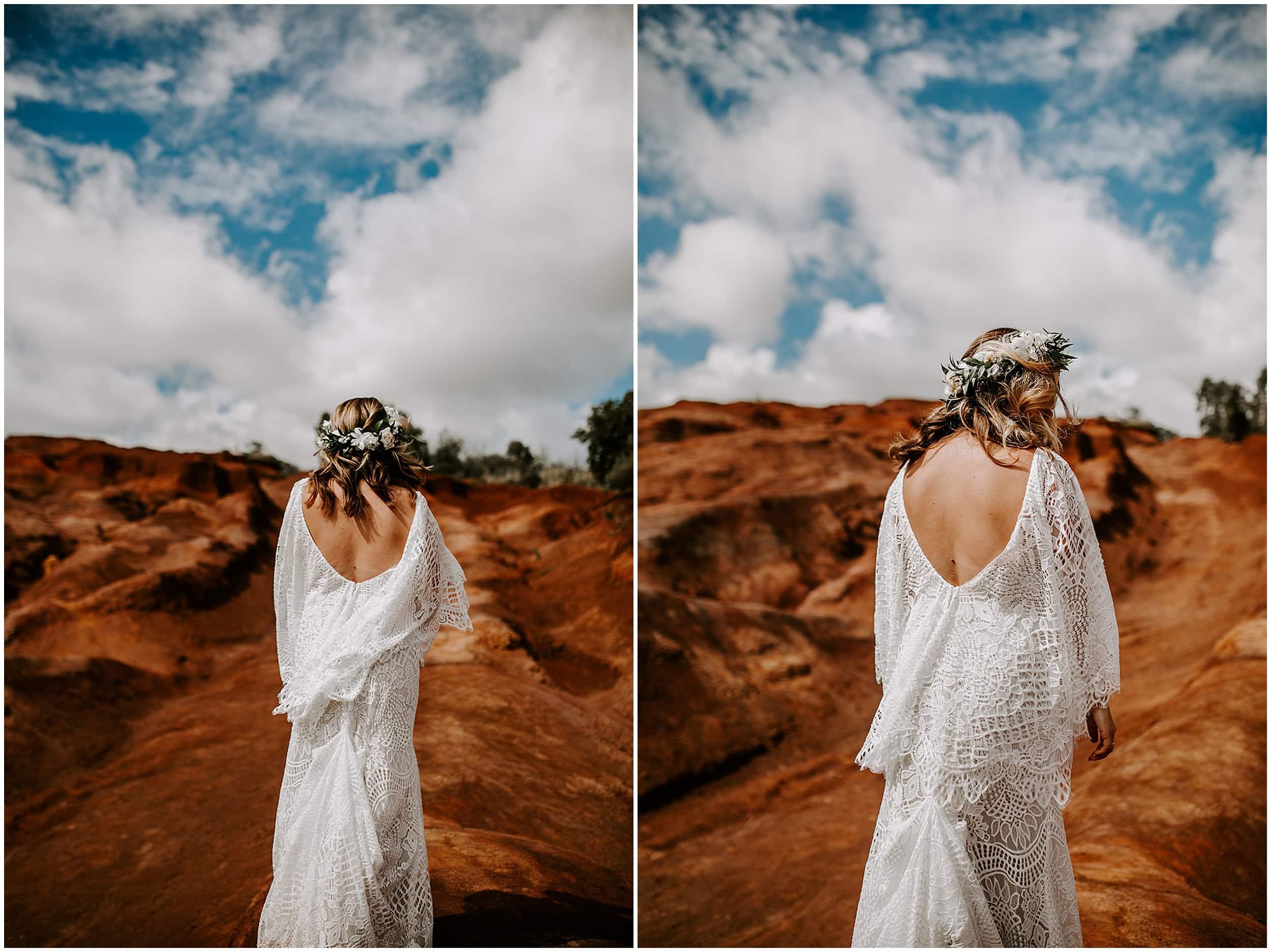 bride wearing boho dress