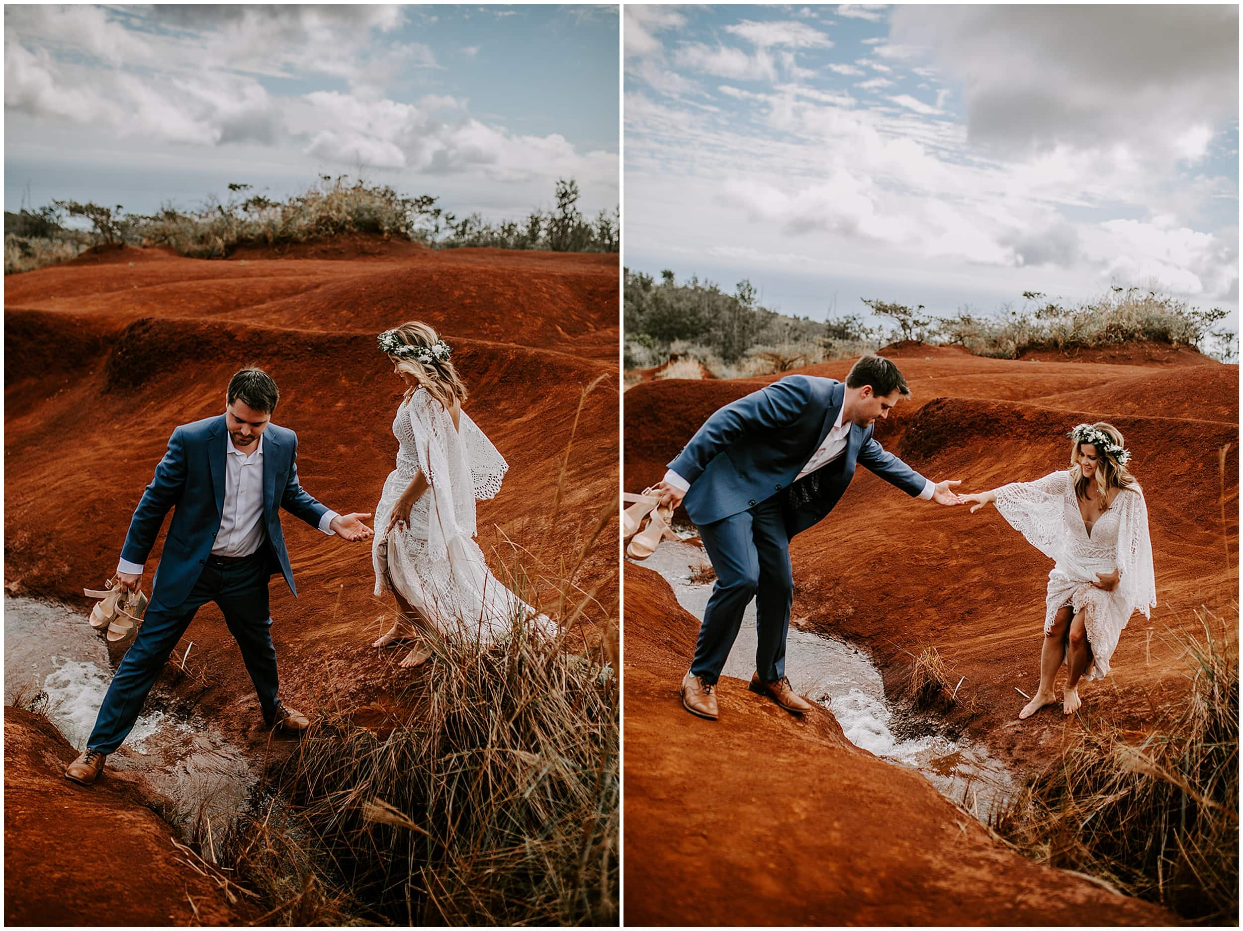 bride and groom walking on hill